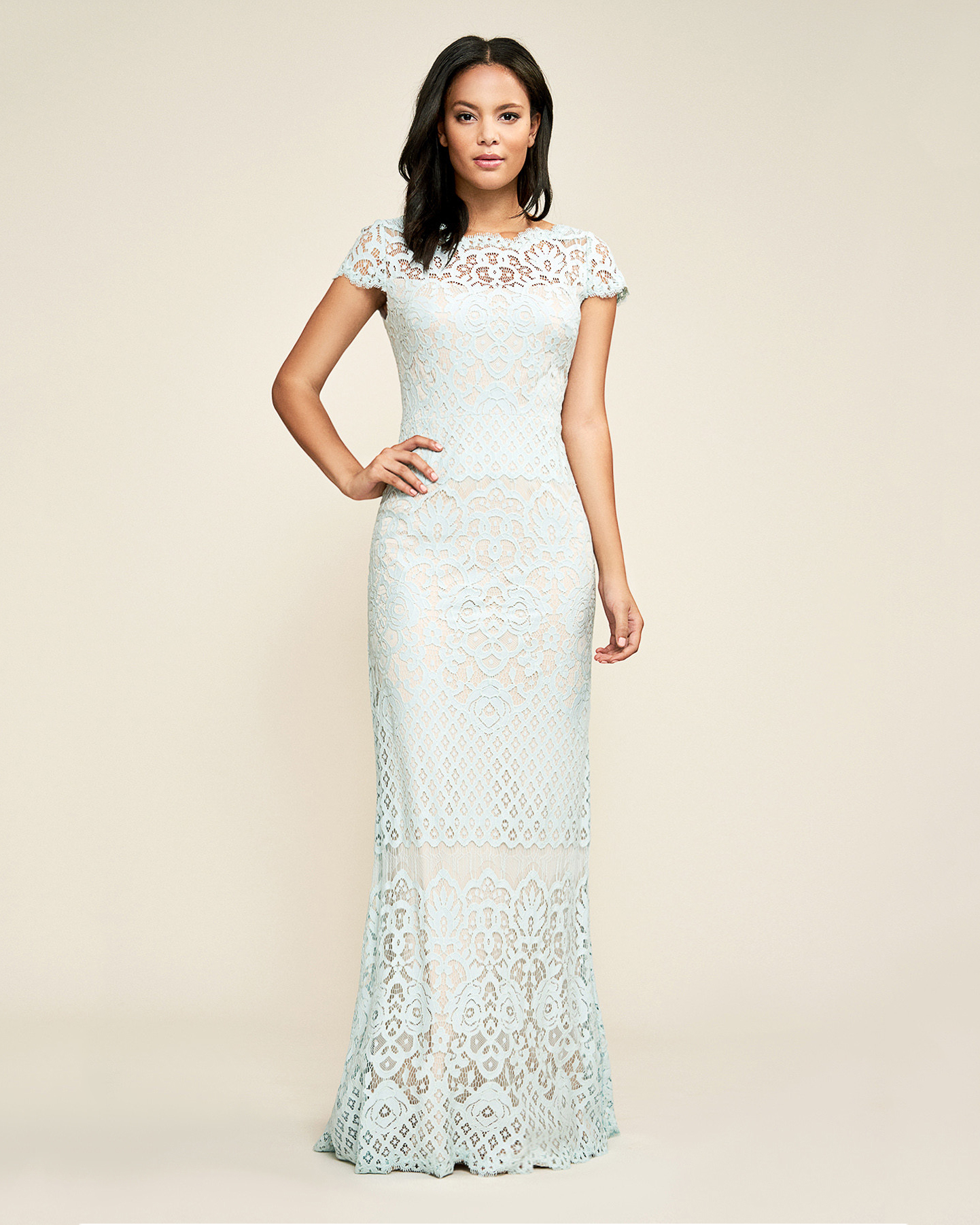 blue lace cap sleeve gown