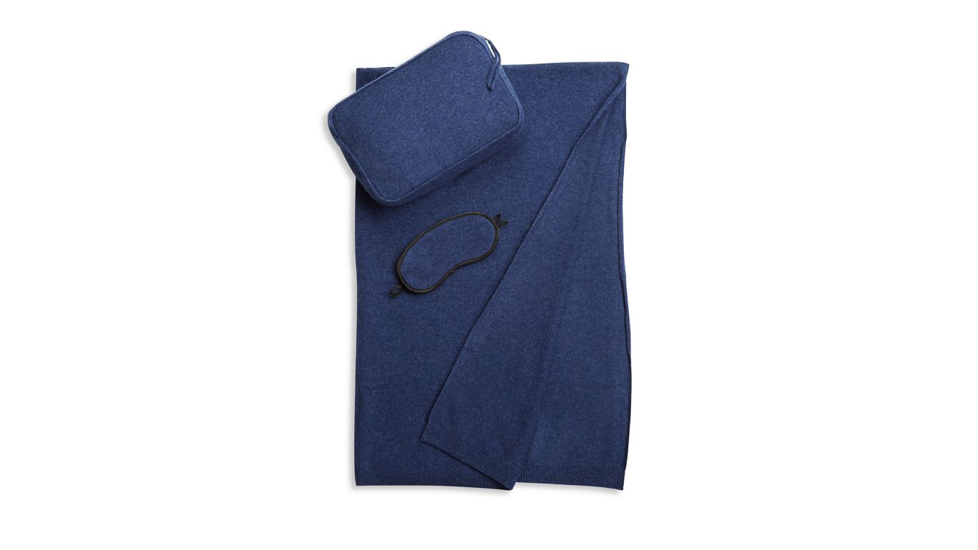 wool anniversary gift cashmere travel set navy blue