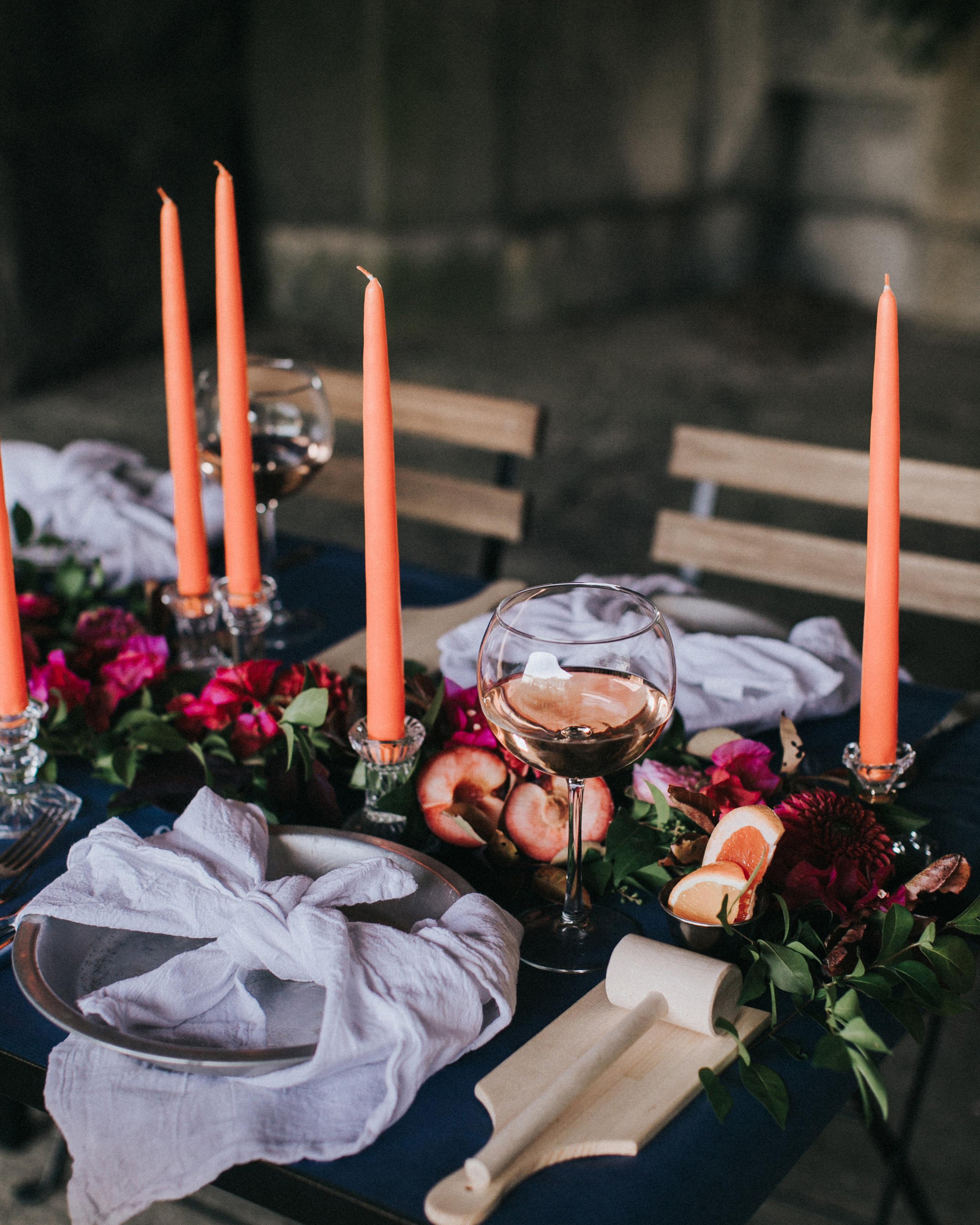 navy tabletop lavender linen