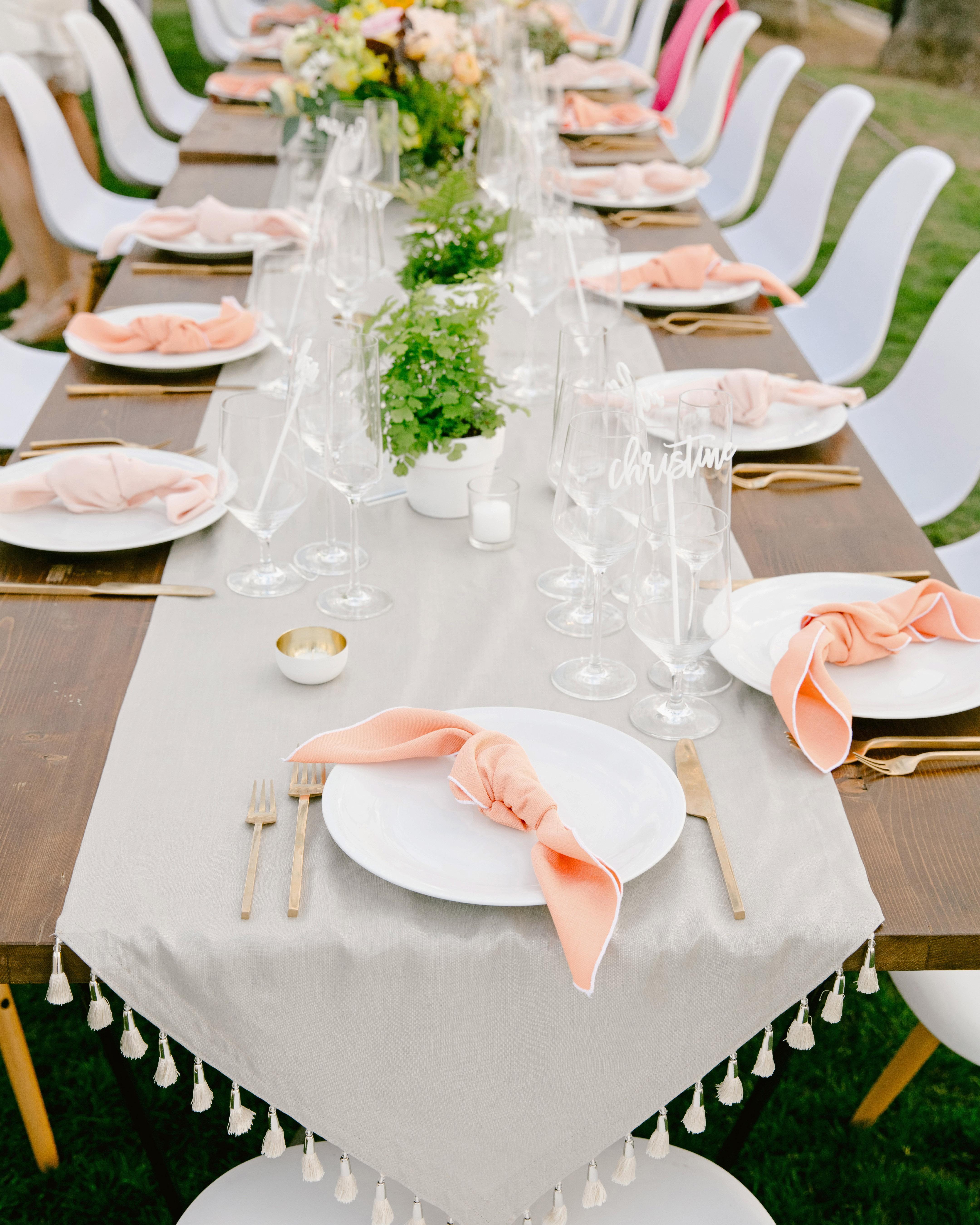peach blush serviettes tasseled table runner