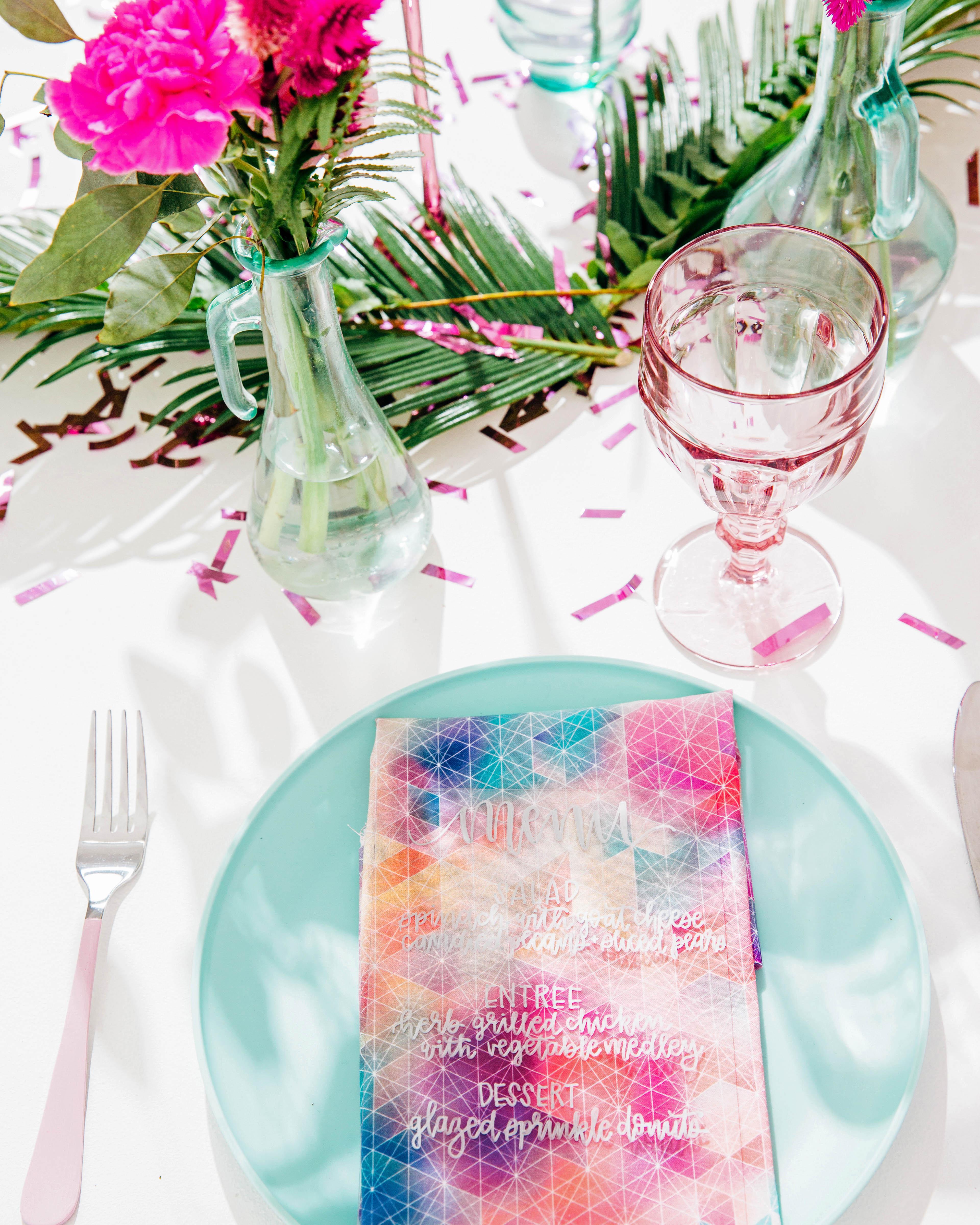 rainbow watercolor napkins