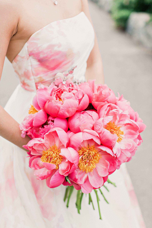 risa ross wedding brooklyn new york pink peonies