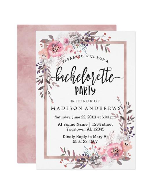 bachelorette party invites zazzle rose gold florals