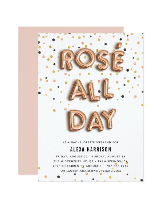 bachelorette party invites zazzle rose all day