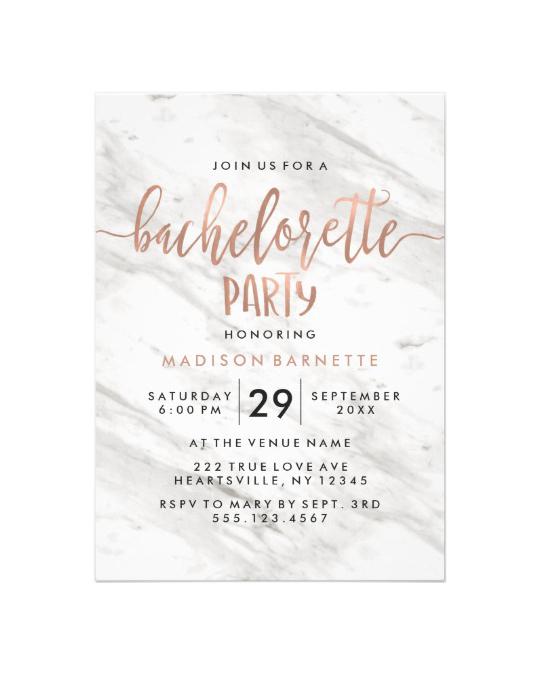 bachelorette party invites zazzle marble