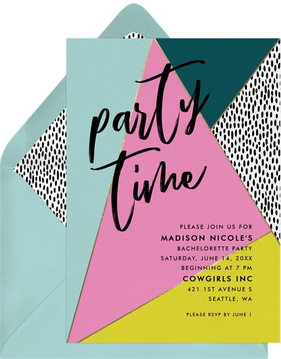 bachelorette party invites greenvelope multicolor