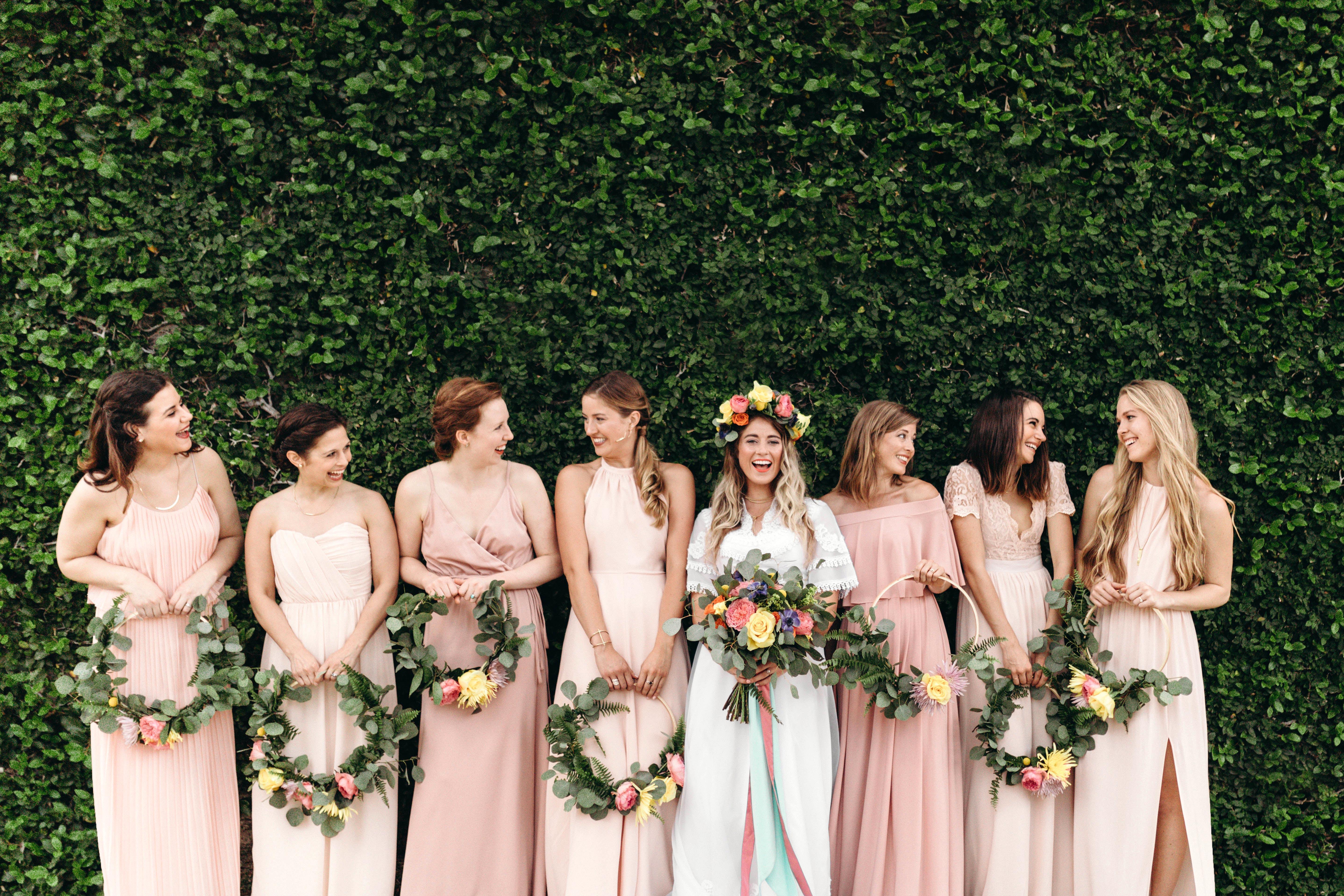 bride bridesmaids hoop bouquet