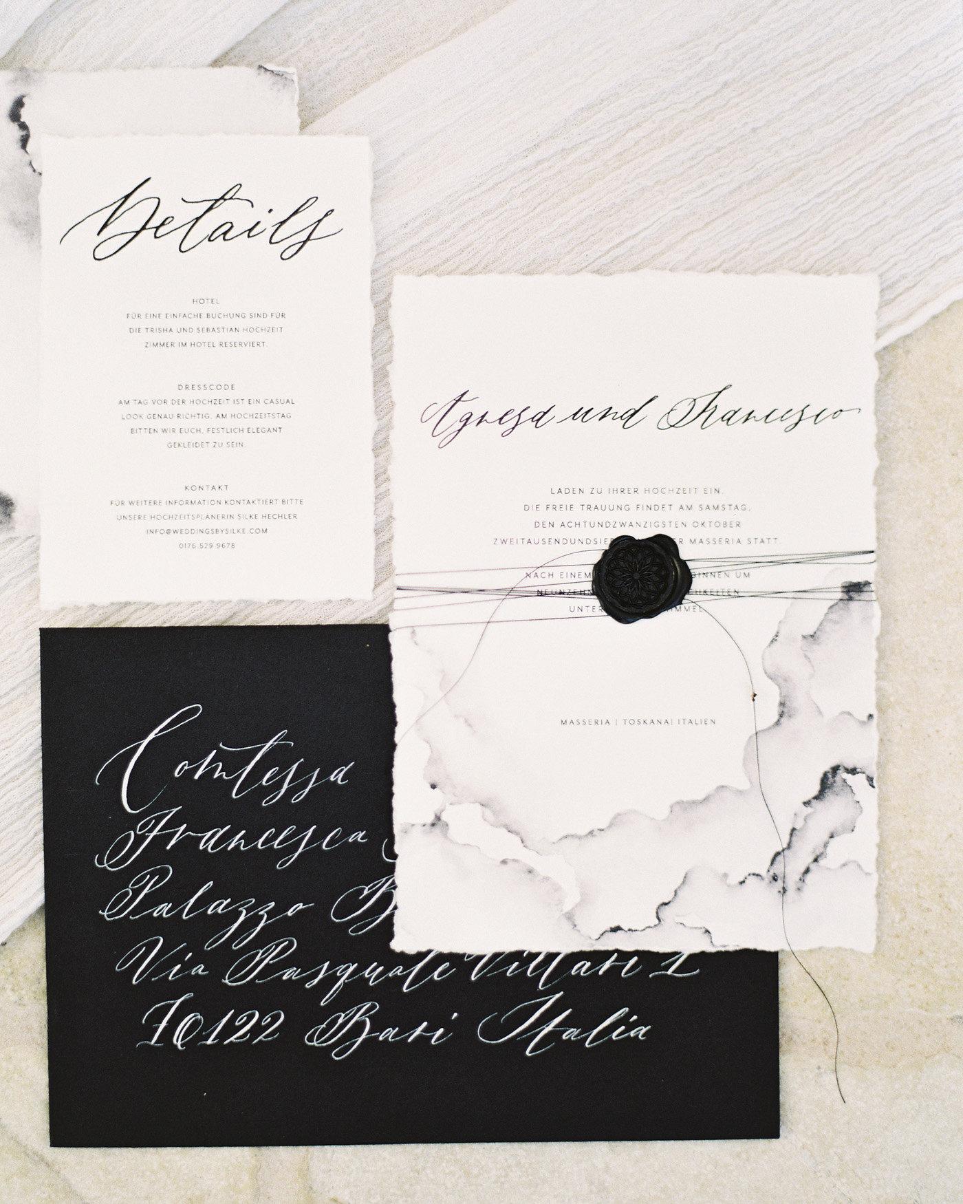 wax seal wedding invitations black wax seal