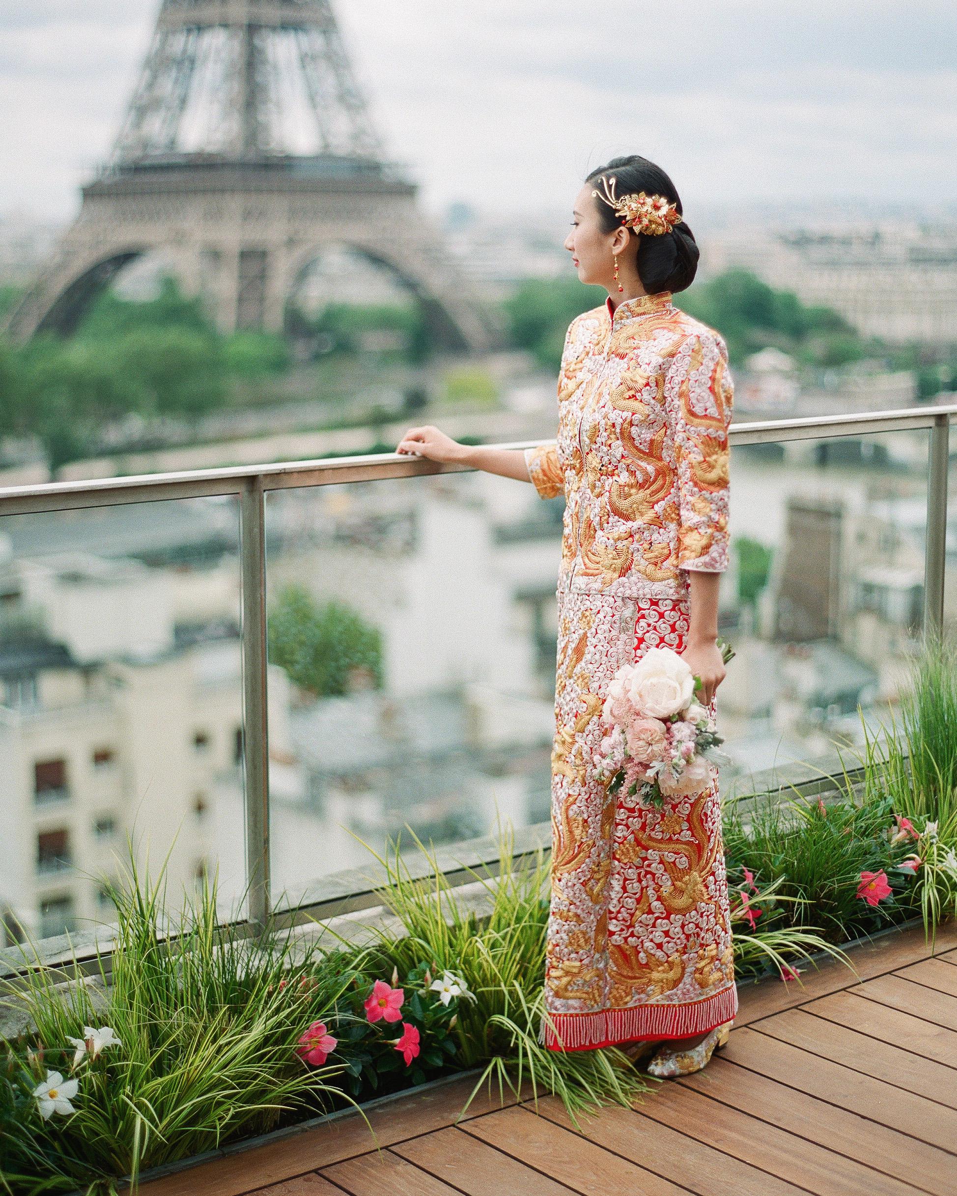long sleeved wedding tea ceremony dress
