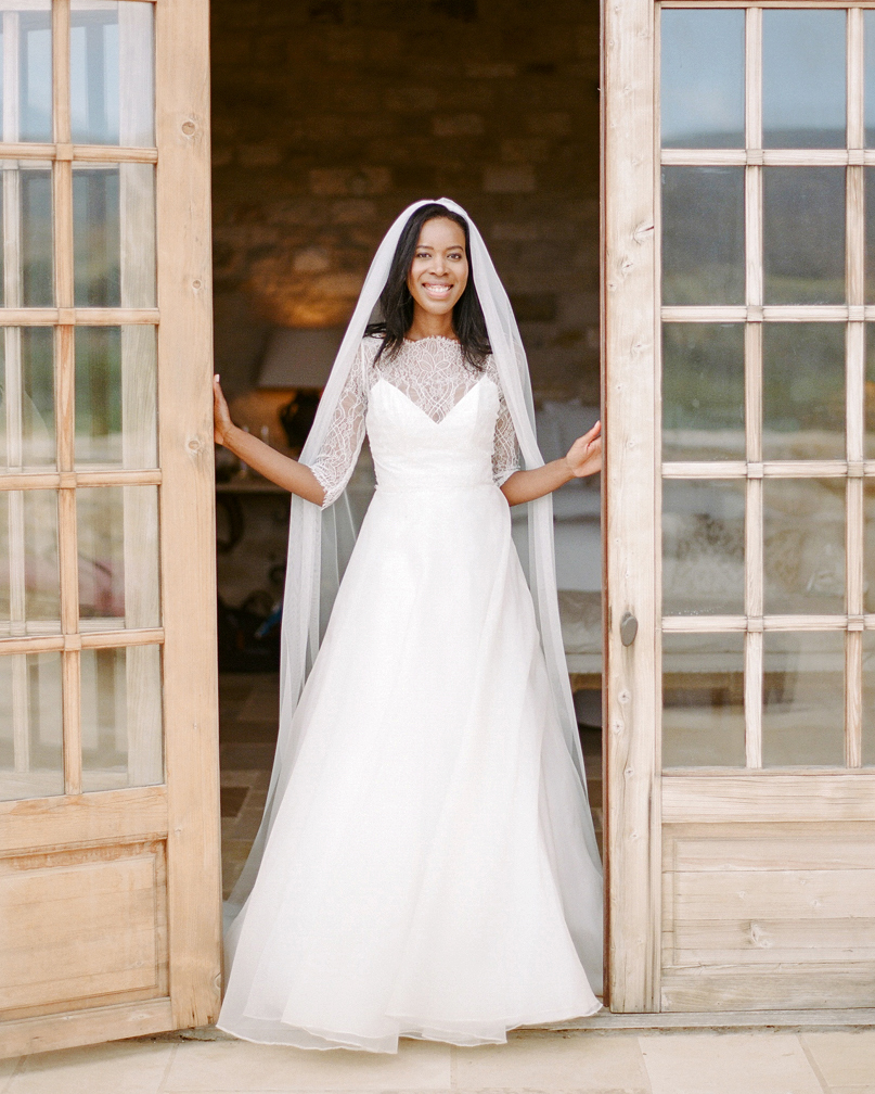 long sleeved wedding elegant lacy neckline  dress
