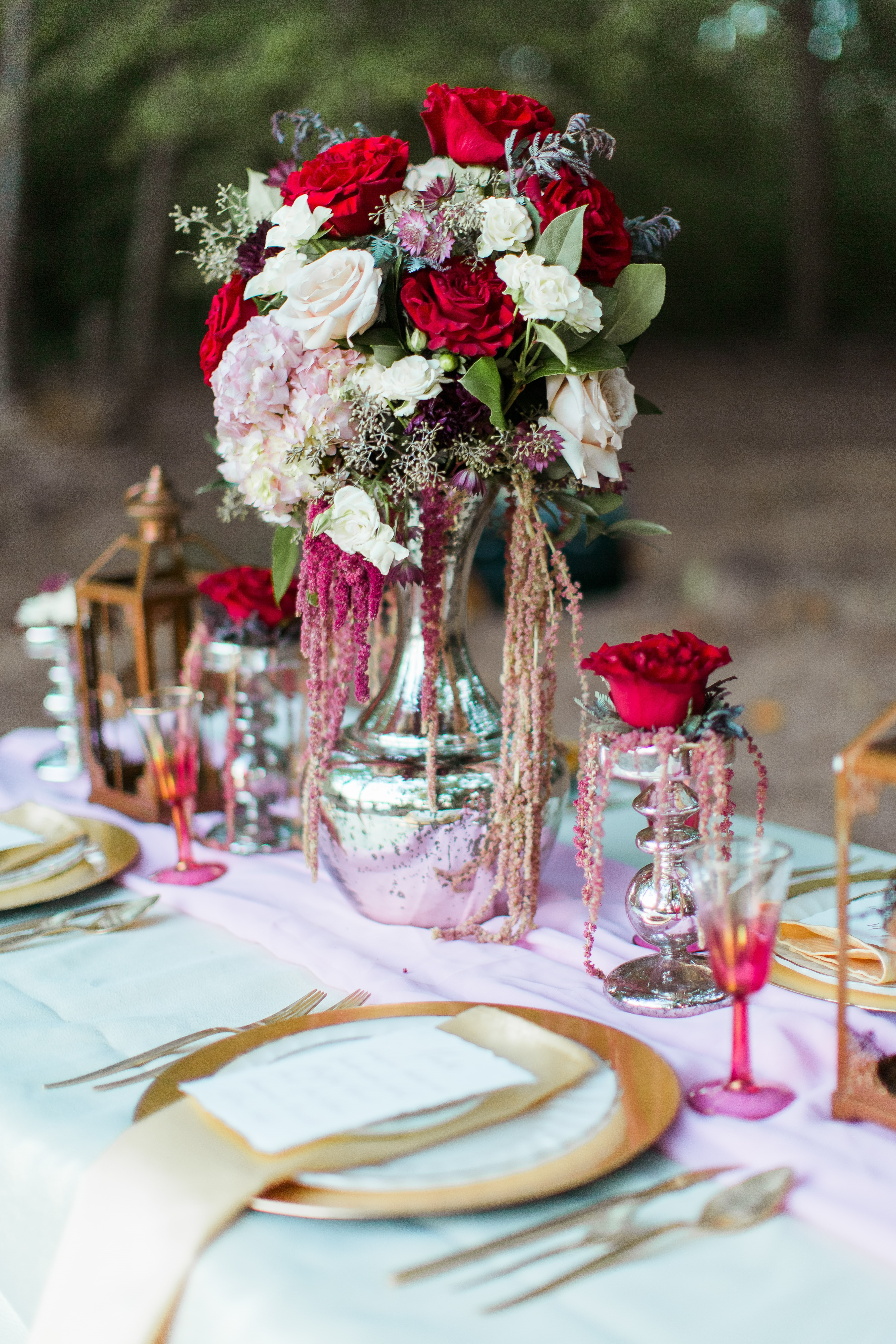 mercury glass centerpieces red flowers