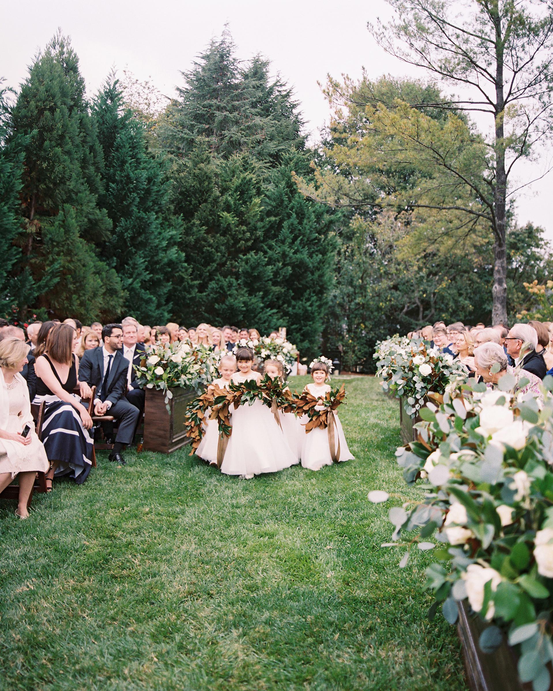 kendall nick wedding ceremony flower girls