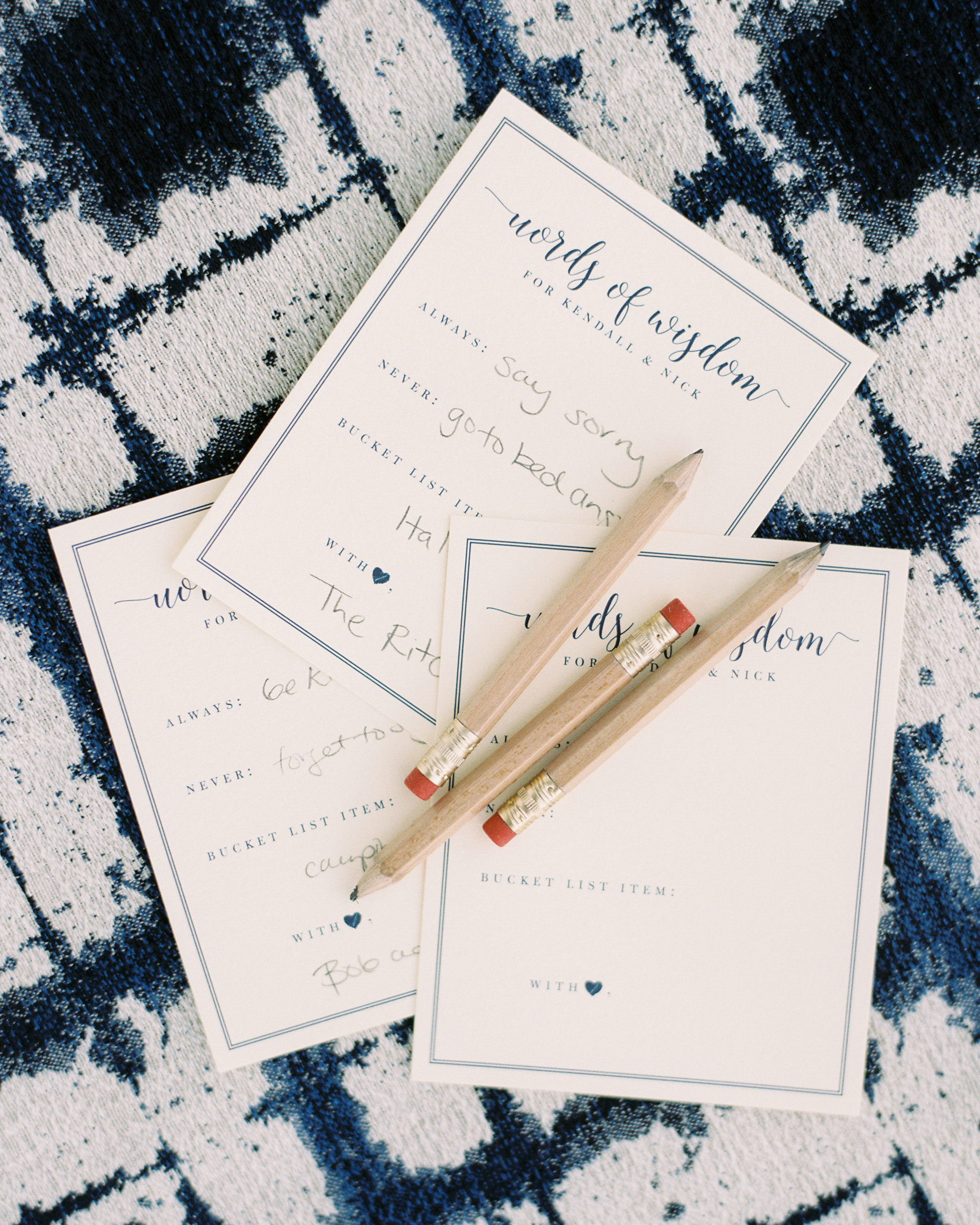 kendall nick wedding advice cards