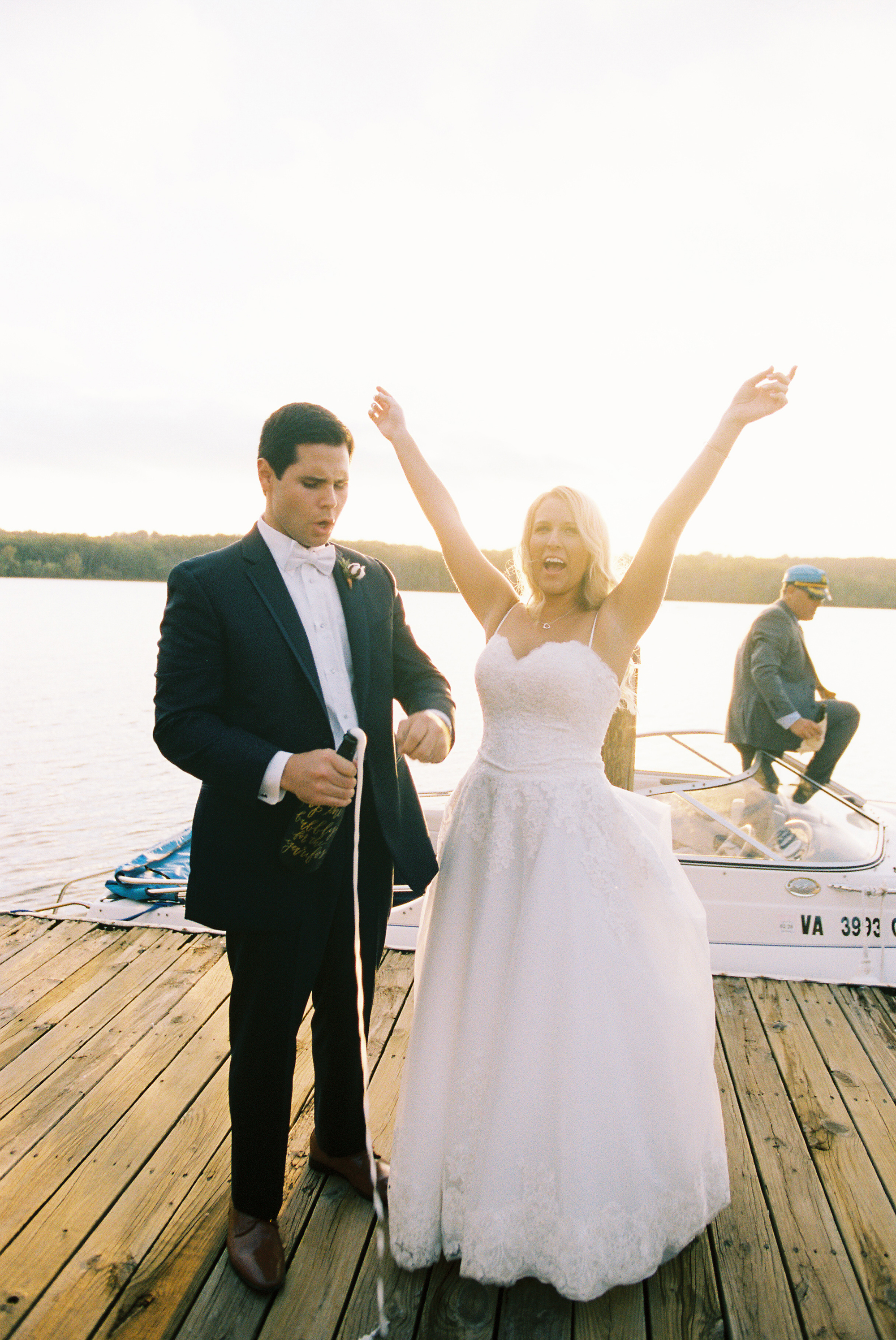 kendall nick wedding couple pop bubbly