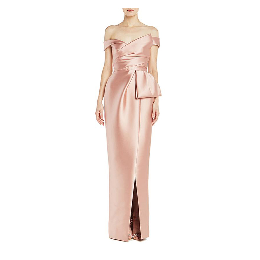 Pink Mother-of-the-Bride Dresses, Off-the-Shoulder Pink Satin Gown from Monique Lhuillier