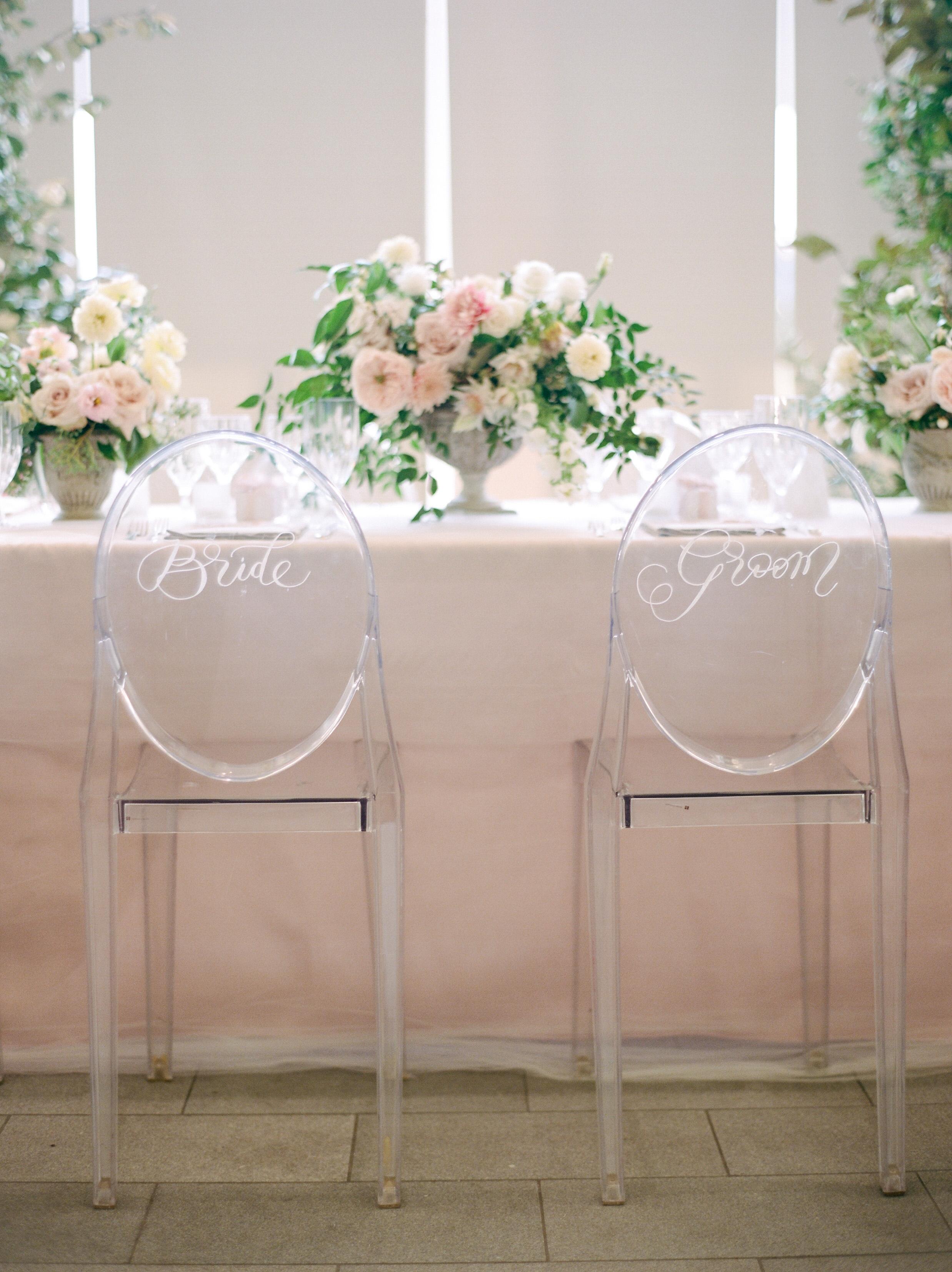 texas wedding clear bride groom chairs