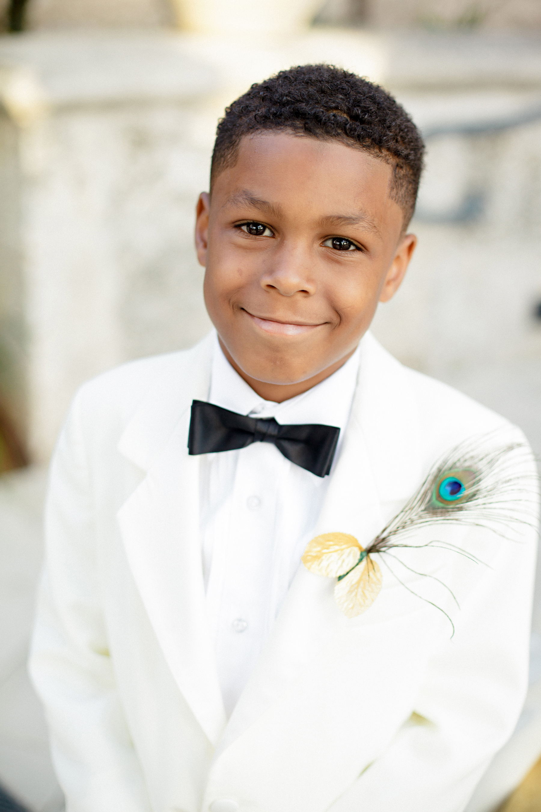 Feather Ring Bearer Boutonnière