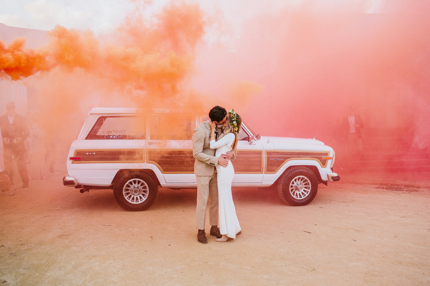 wedding exits smoke bombs