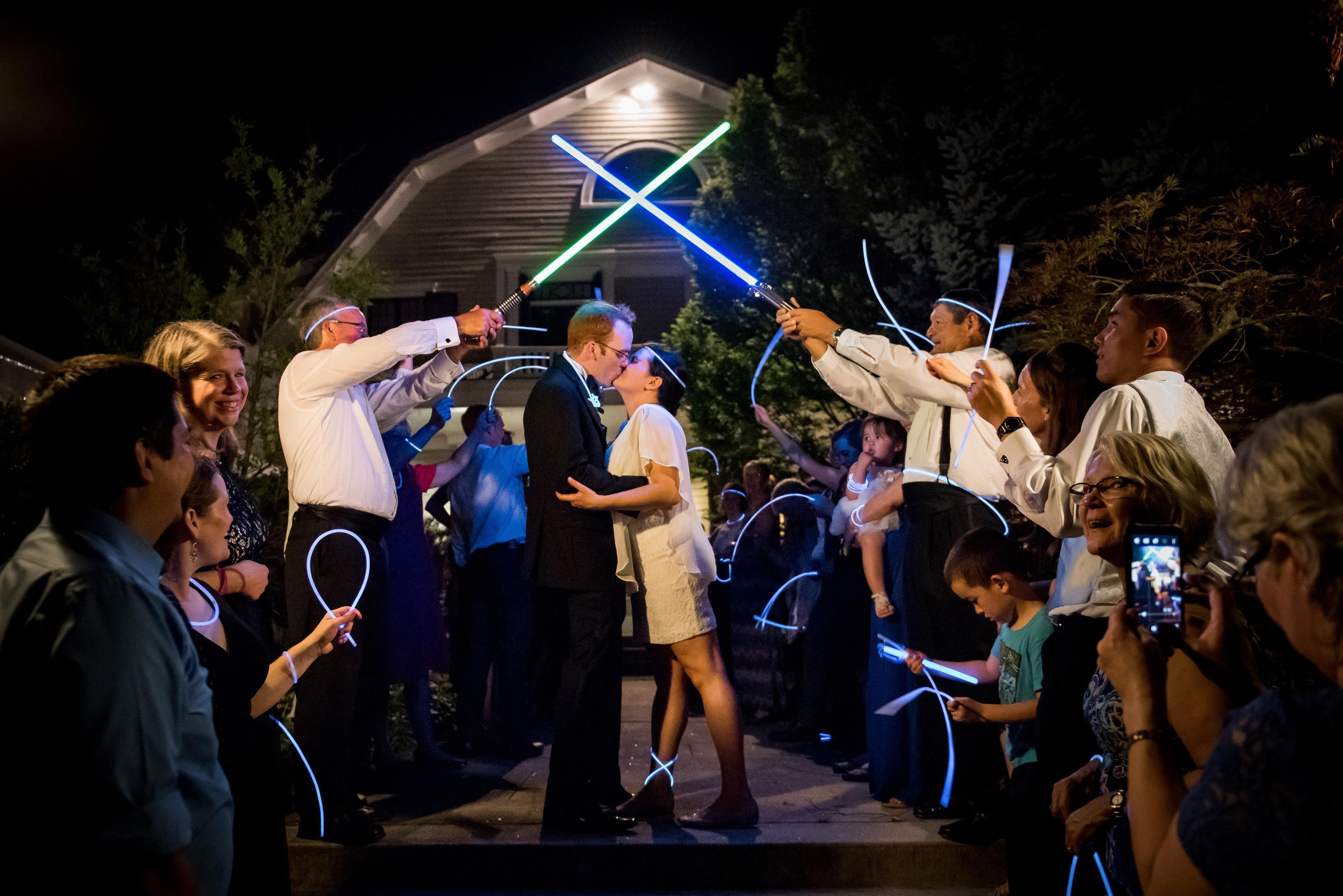 wedding exits lightsaber glowstick