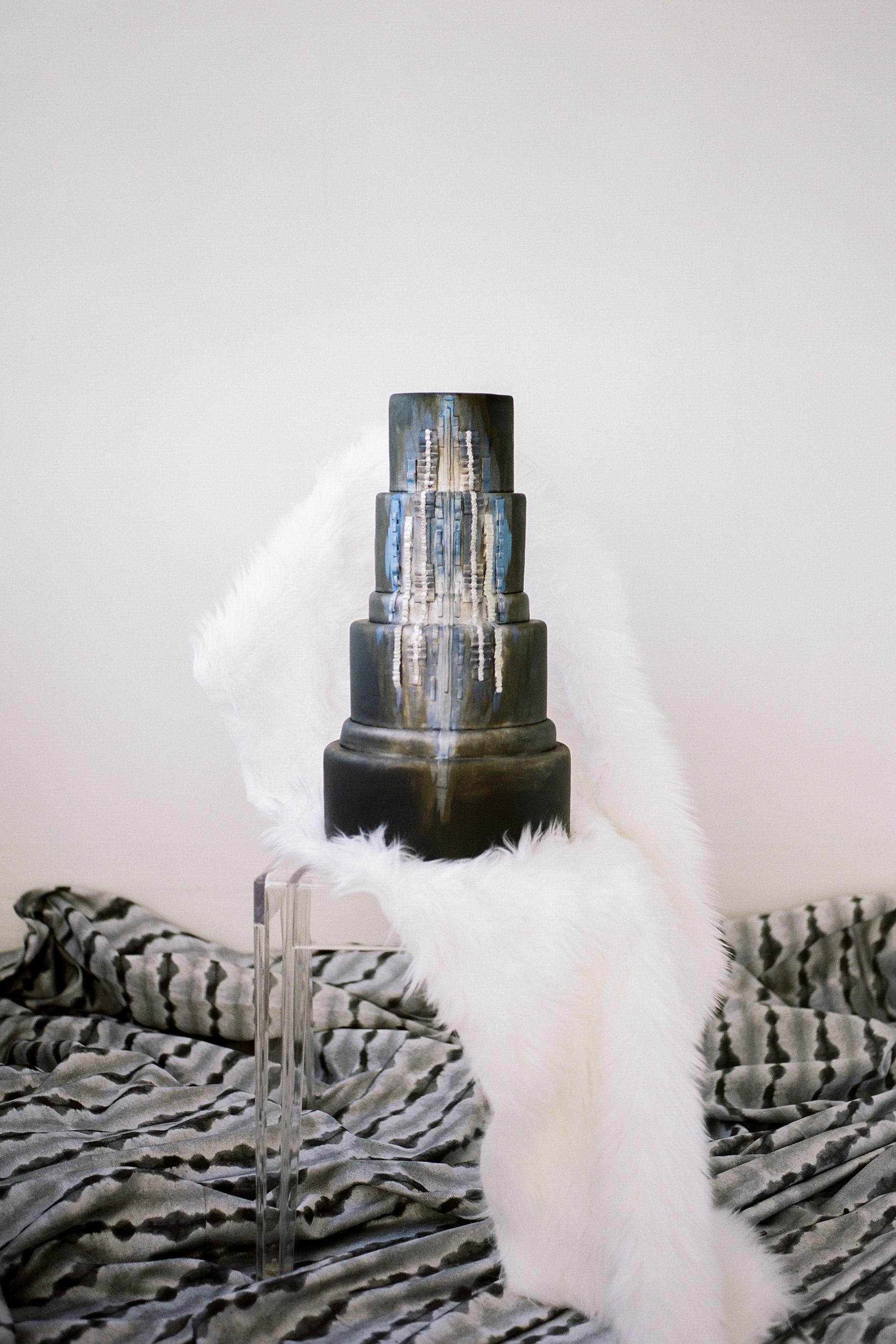 black wedding cake anna delores photography mjbcakes