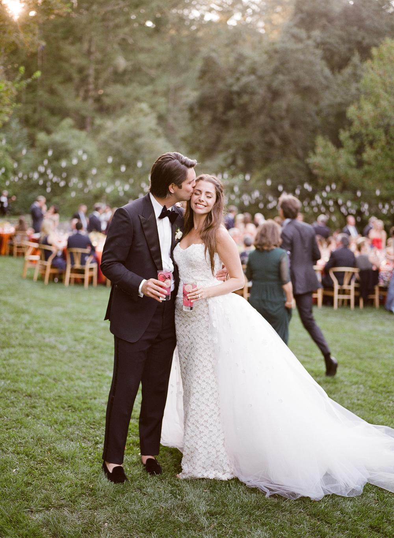 alessa andrew wedding groom kissing brides cheek