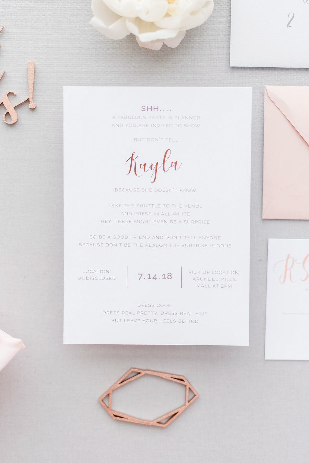 engagement party invitation with whimsical type