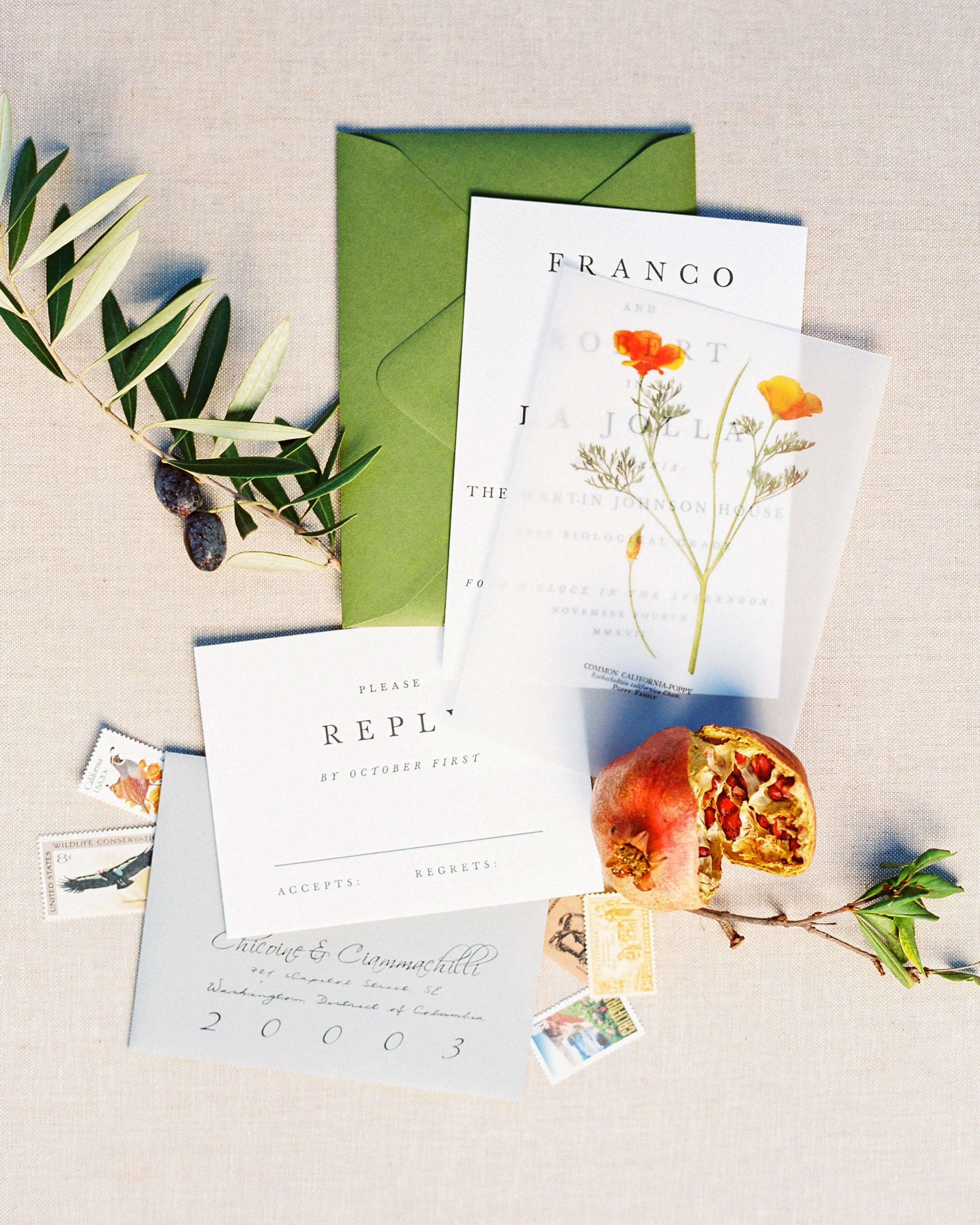 rob franco wedding invitation suite