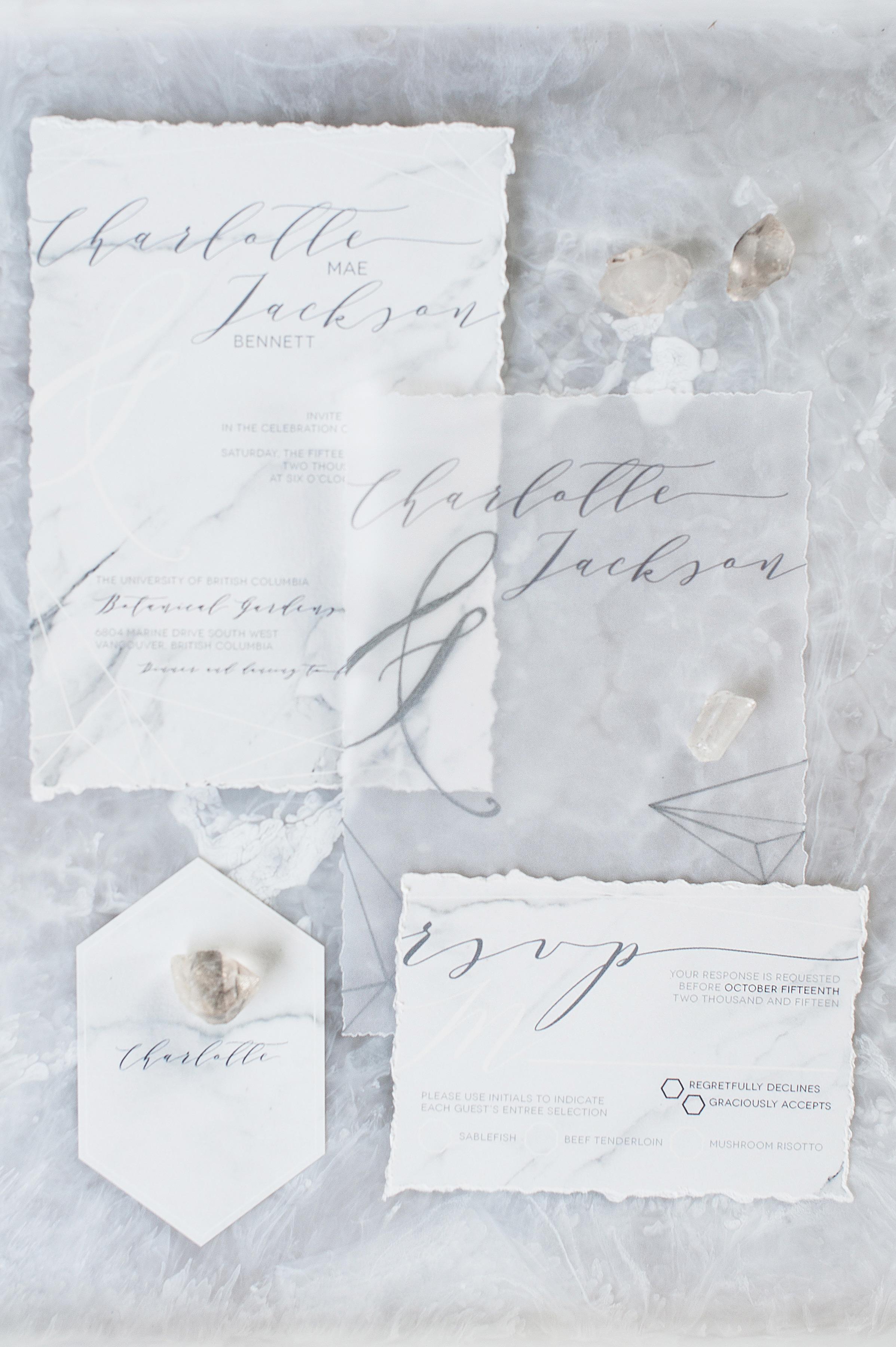 deckle edge invitations blush wedding photography