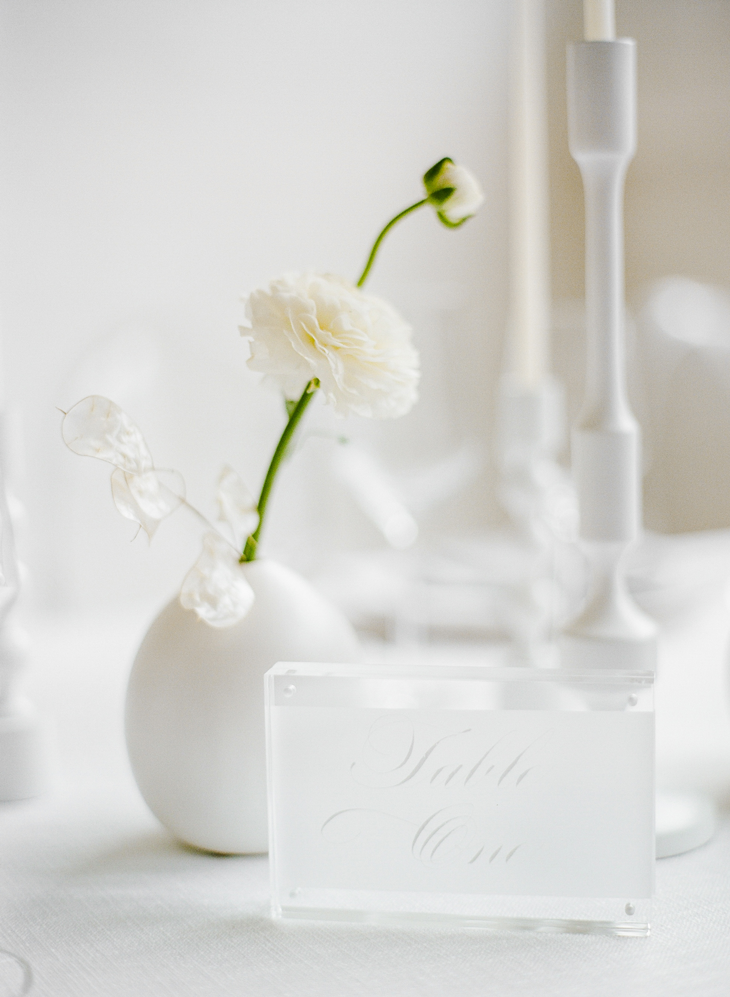 vellum framed calligraphy table numbers