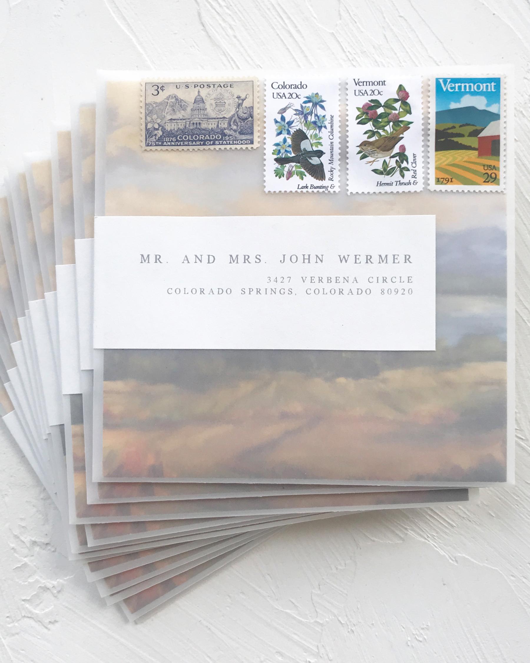 vellum envelope showing landscape card