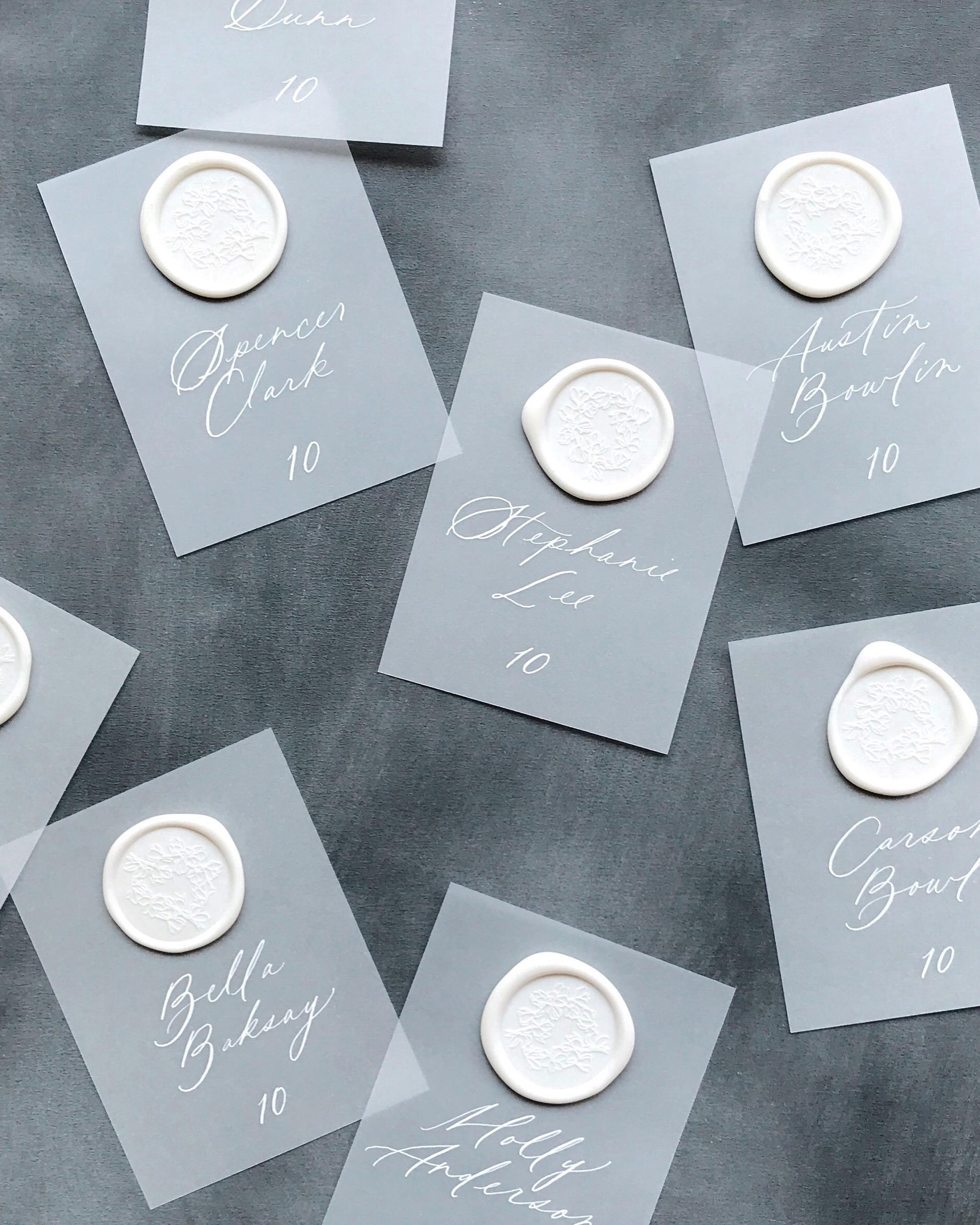 vellum escort cards with wax seals