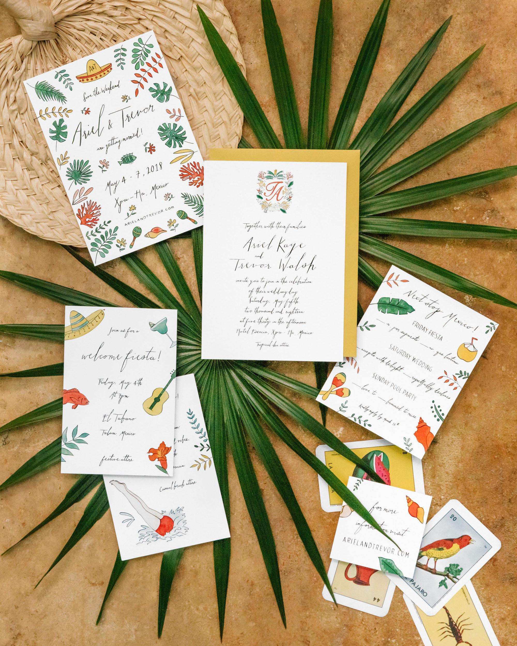 ariel trevor wedding tulum mexico invitation suite