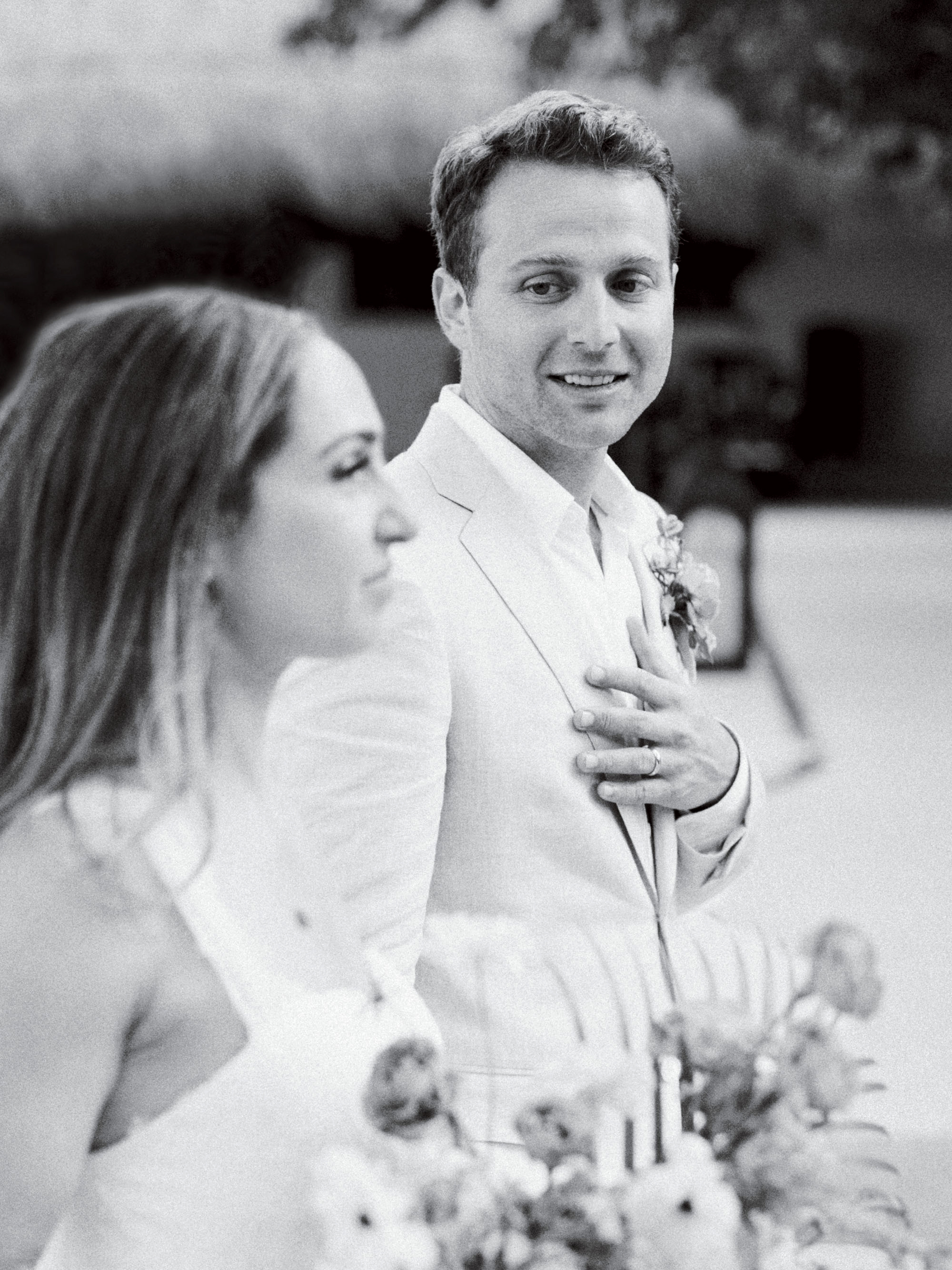 ariel trevor wedding tulum mexico recessional bride groom look