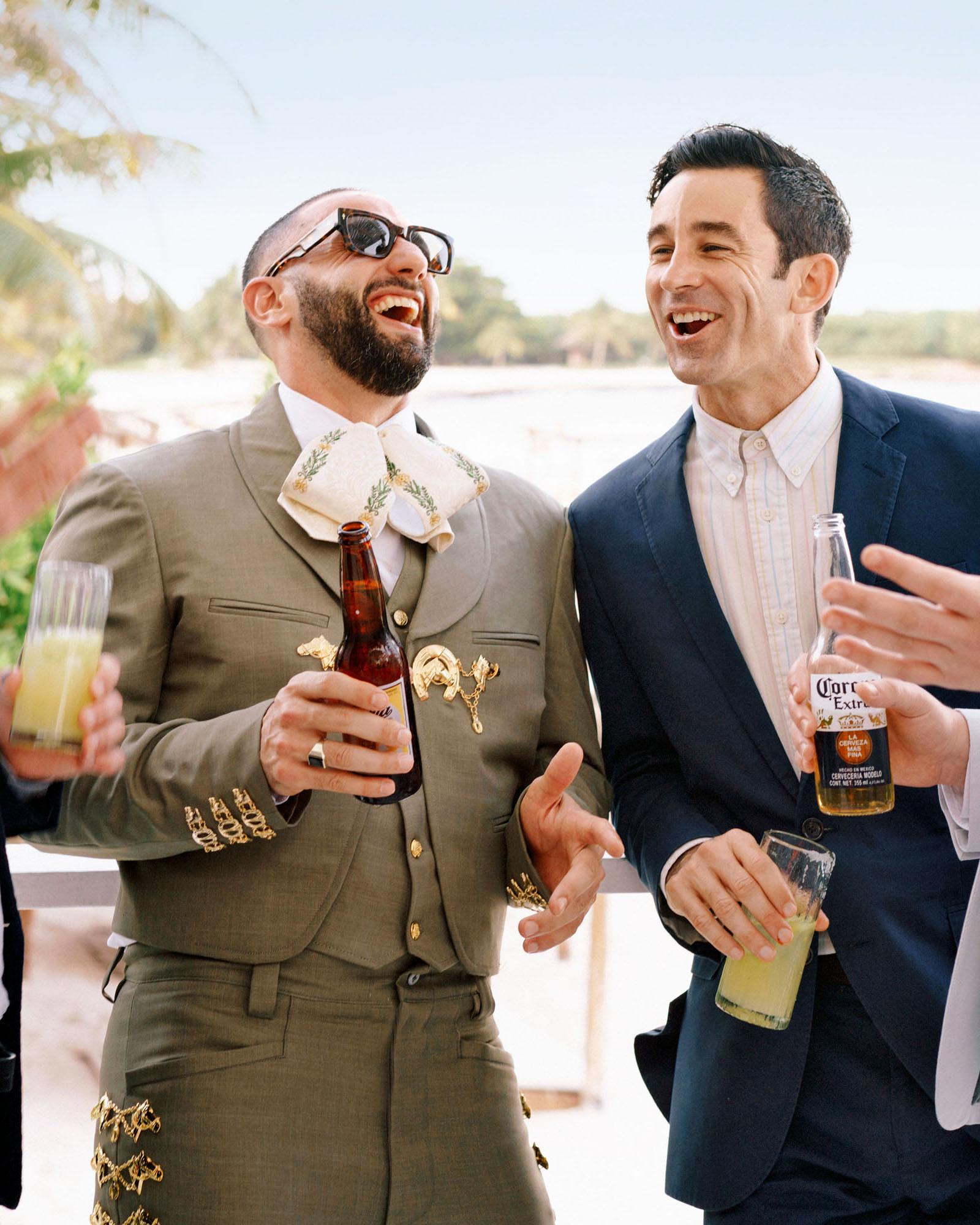 ariel trevor wedding tulum mexico mariachi suit beers