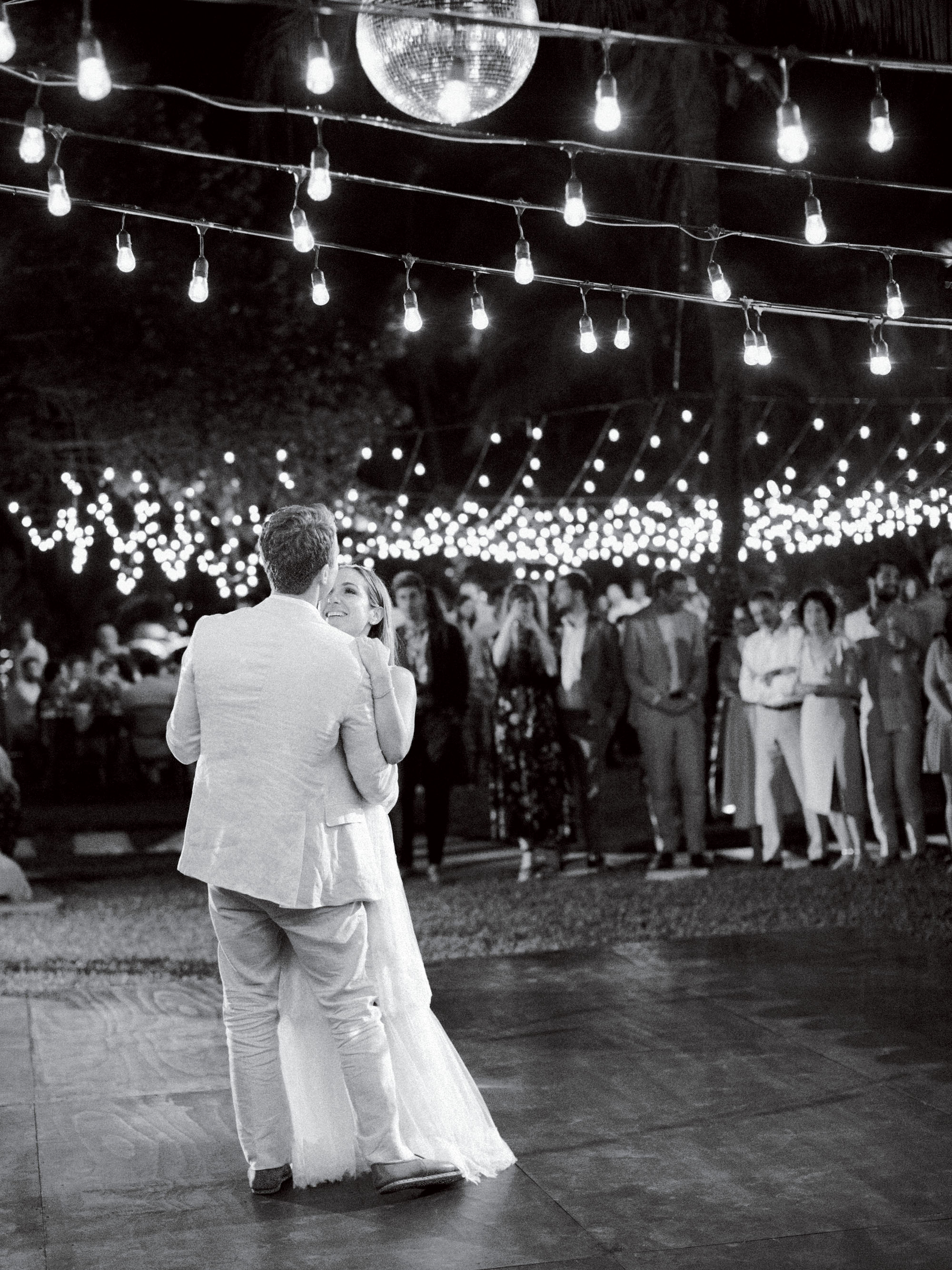 ariel trevor wedding tulum mexico first dance couple bride group lights