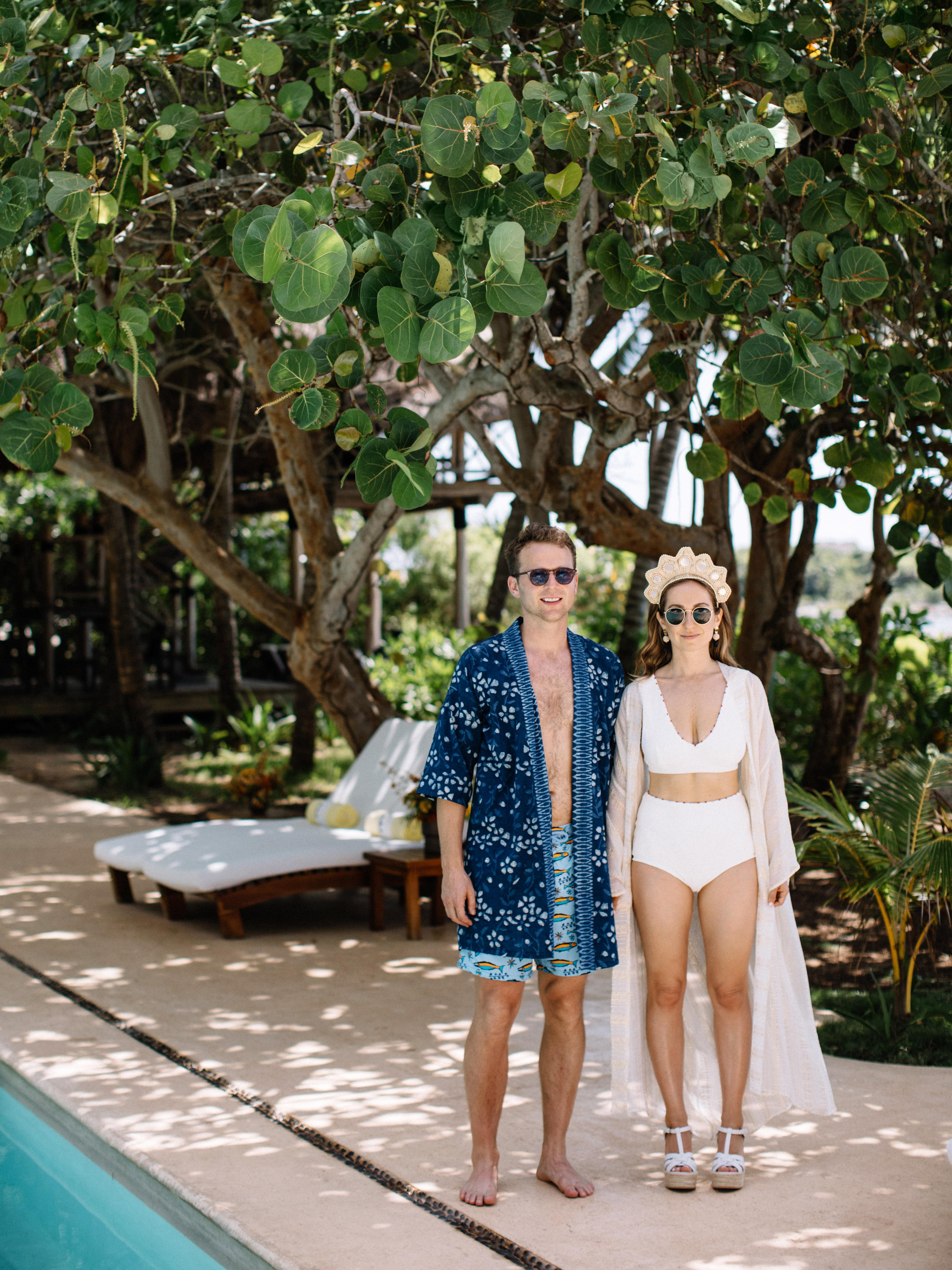 ariel trevor wedding tulum mexico pool party bride groom