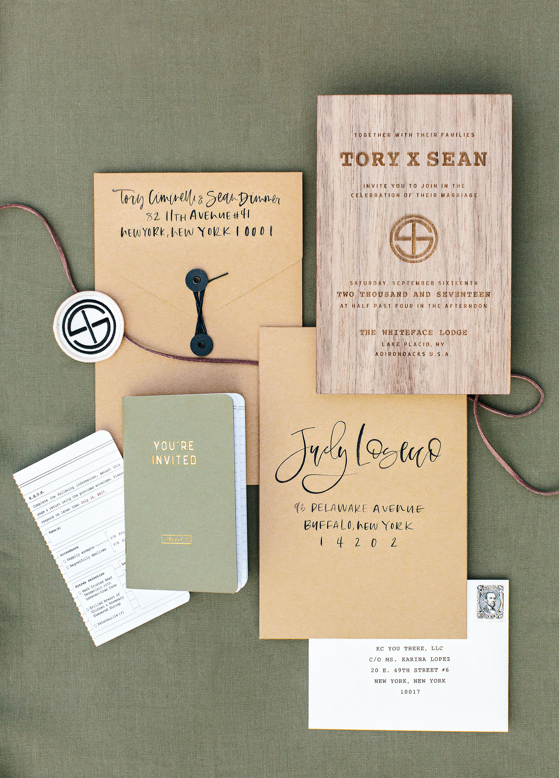 tory sean wedding lake placid new york invitation suite