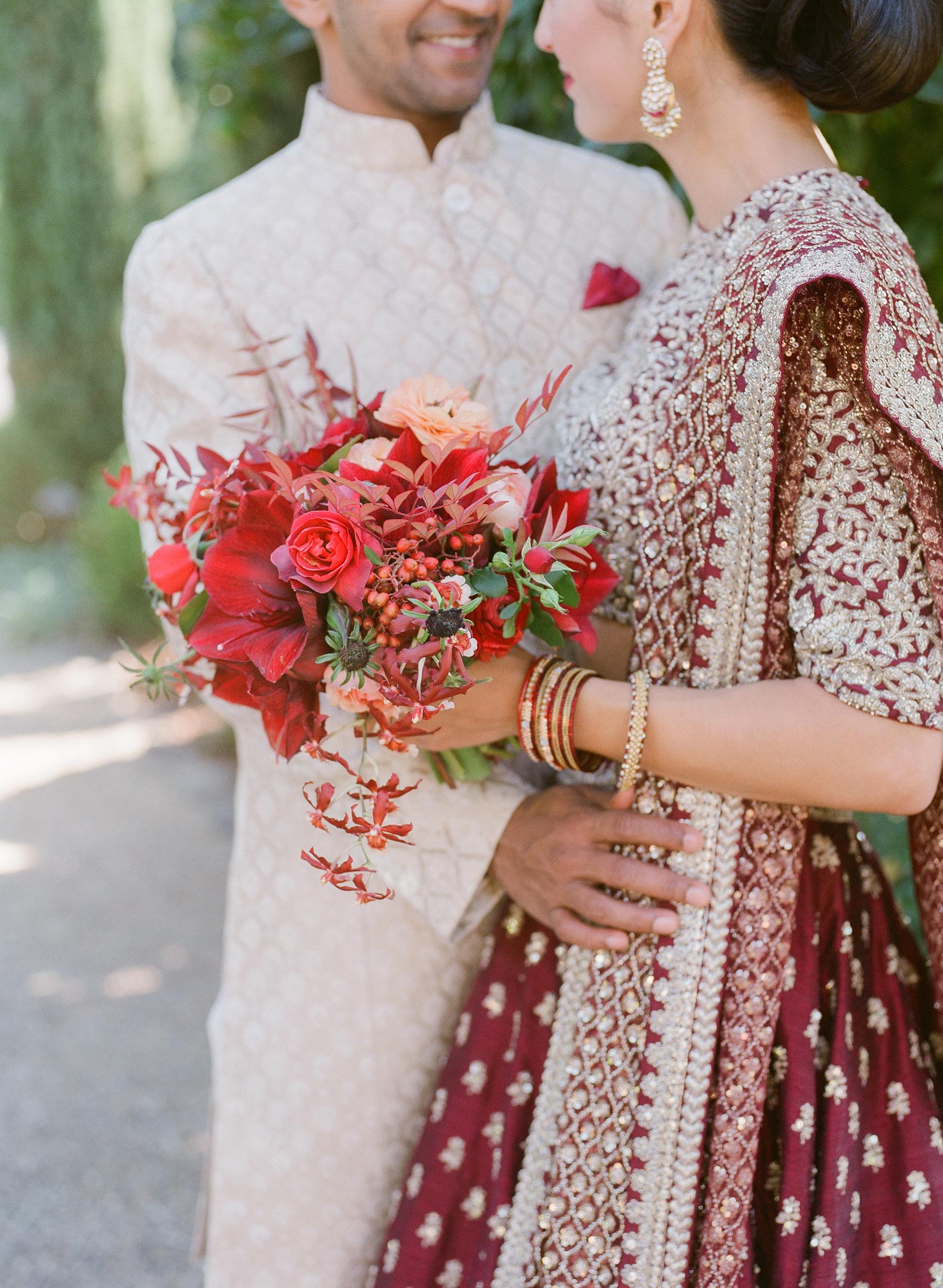 jenna alok wedding wine country california red bouquet