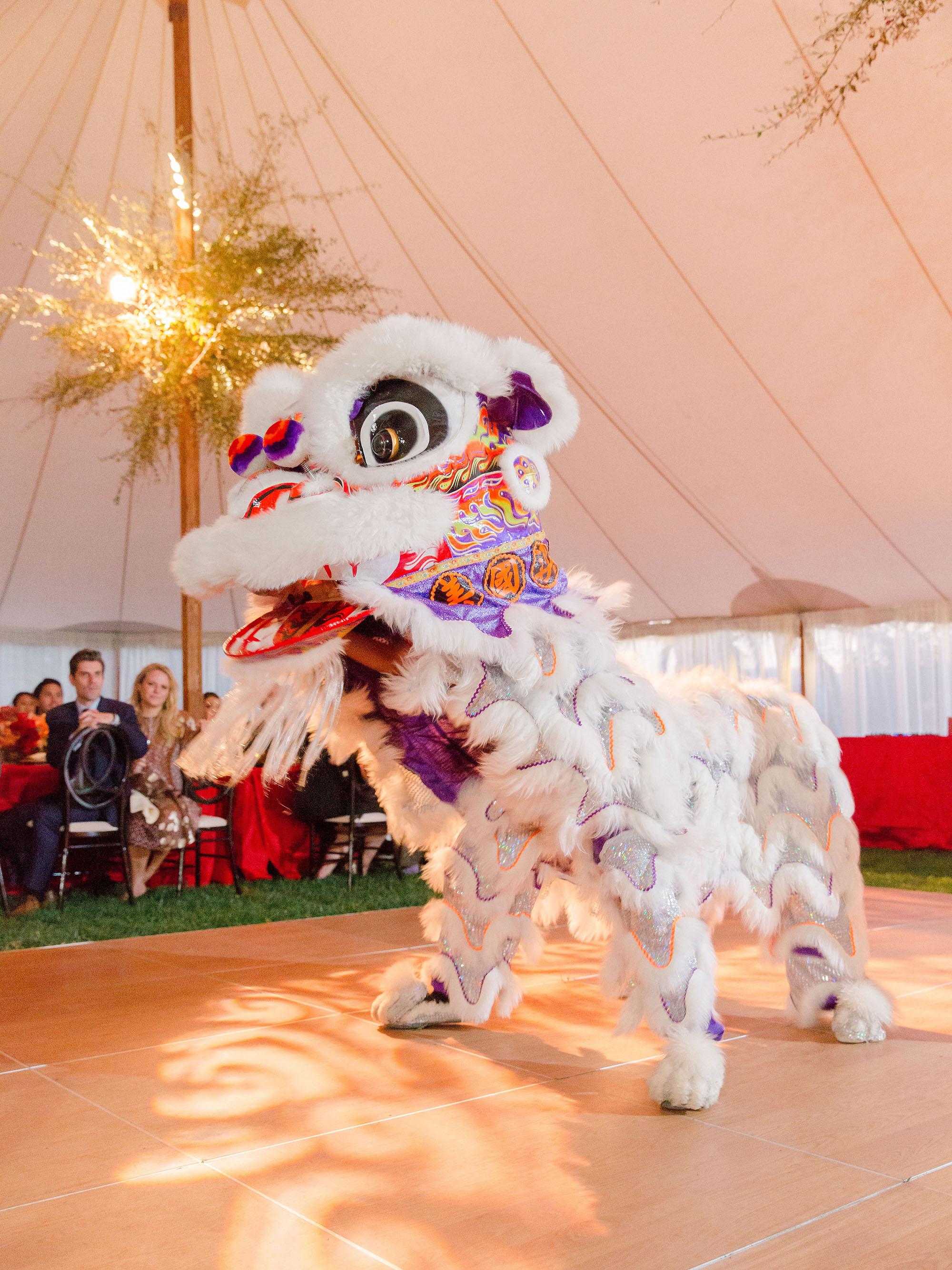jenna alok wedding wine country california chinese lion dancers