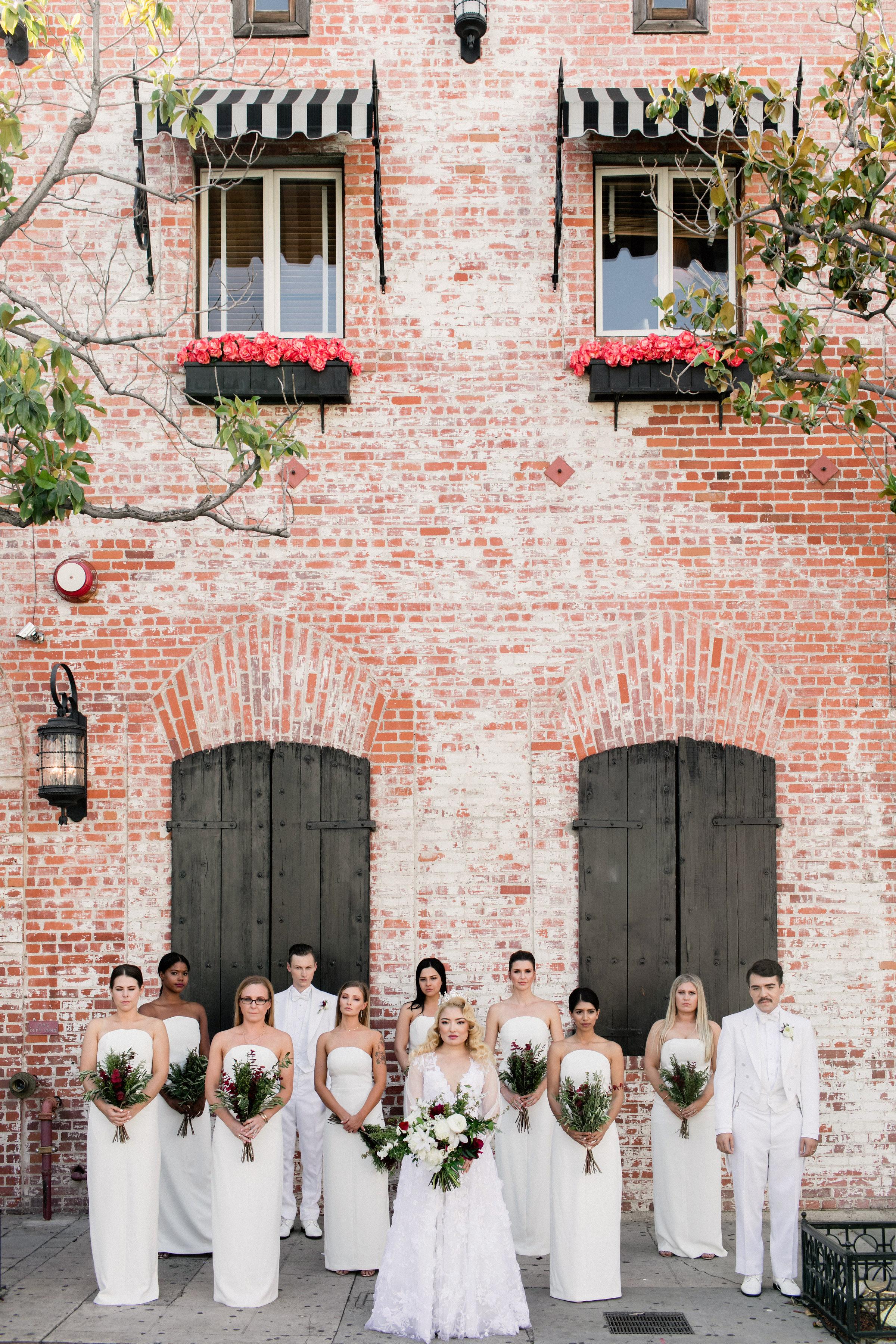 chic bridesmaids simple column white attire