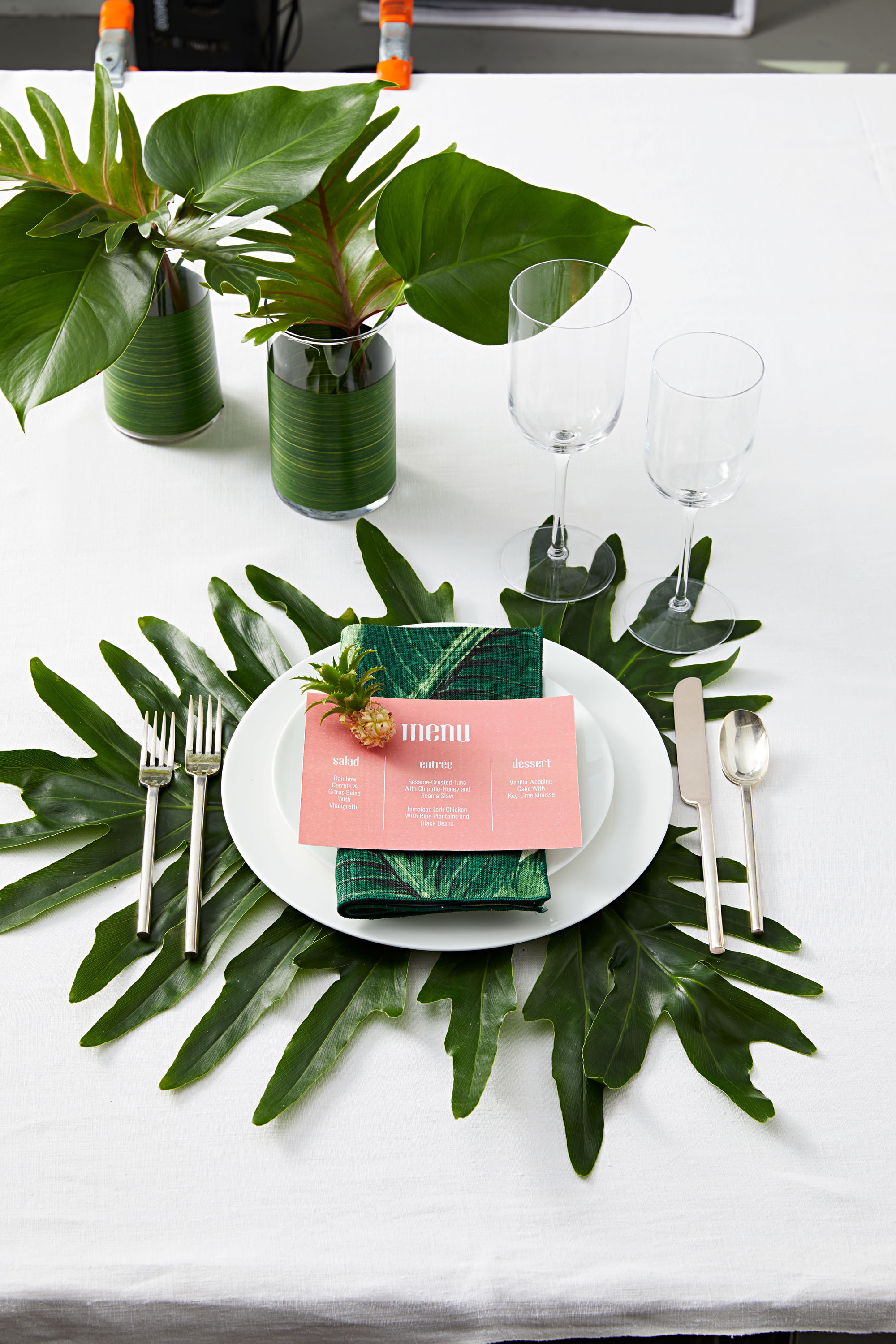 tropical themed table setting