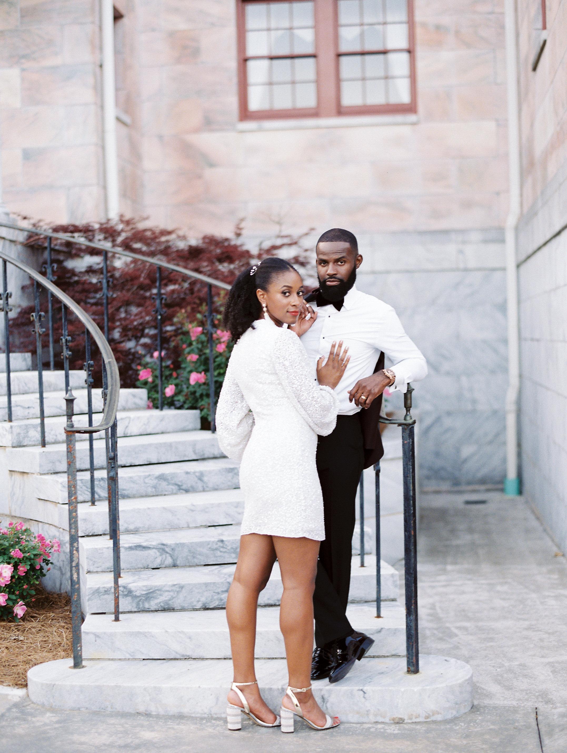 niara allen wedding couple reception dress