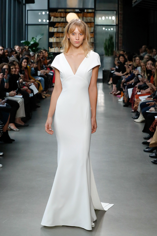 amsale fall 2019 sheath v-neck wedding dress