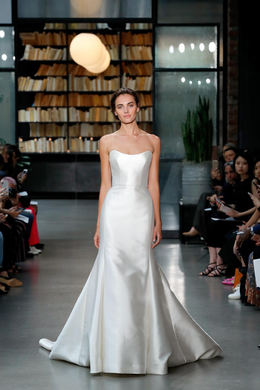 amsale fall 2019 strapless trumpet wedding dress