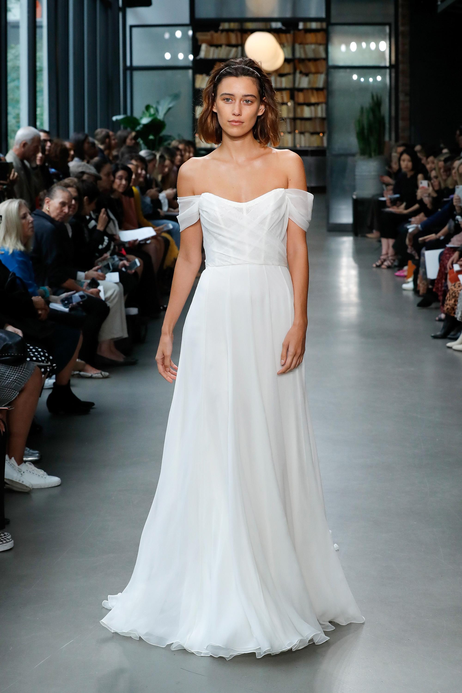amsale fall 2019 off the shoulder vertical ruffles wedding dress