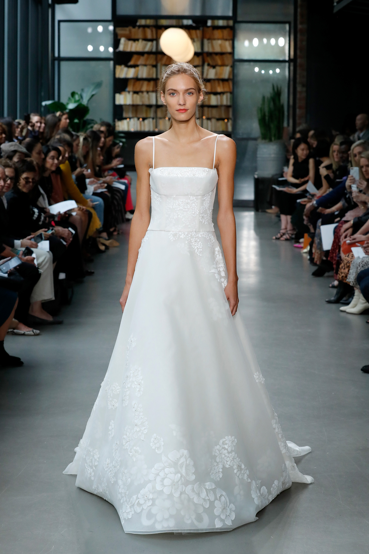 amsale fall 2019 spaghetti strap floral applique wedding dress