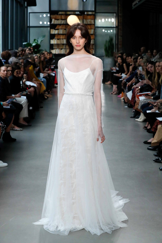 amsale fall 2019 sheath illusion high neckline wedding dress