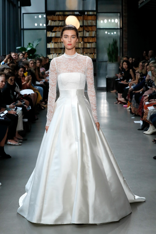 amsale fall 2019 illusion high neckline ball gown wedding dress