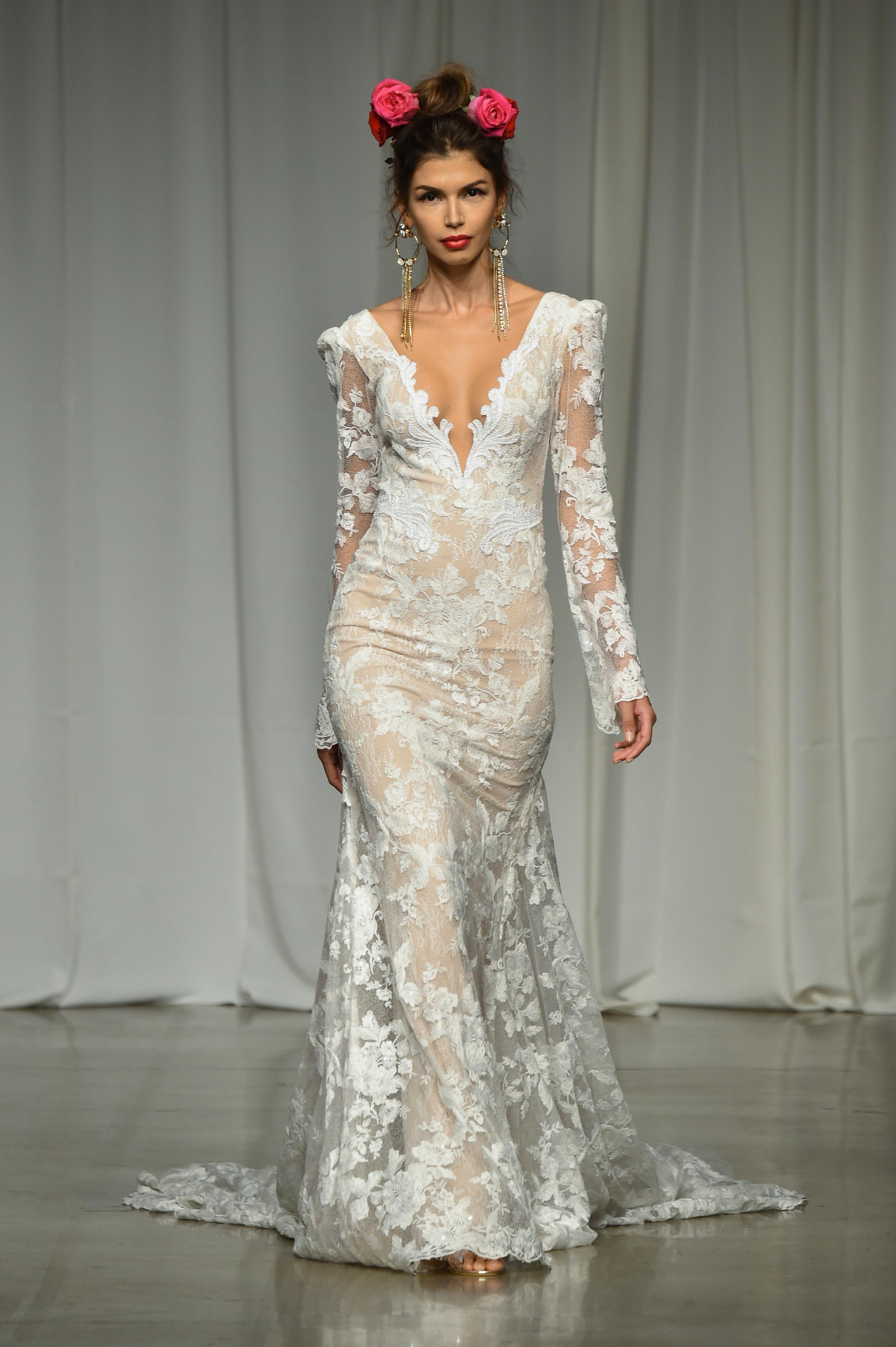 julie vino group fall 2019 sheer trumpet long sleeve wedding dress