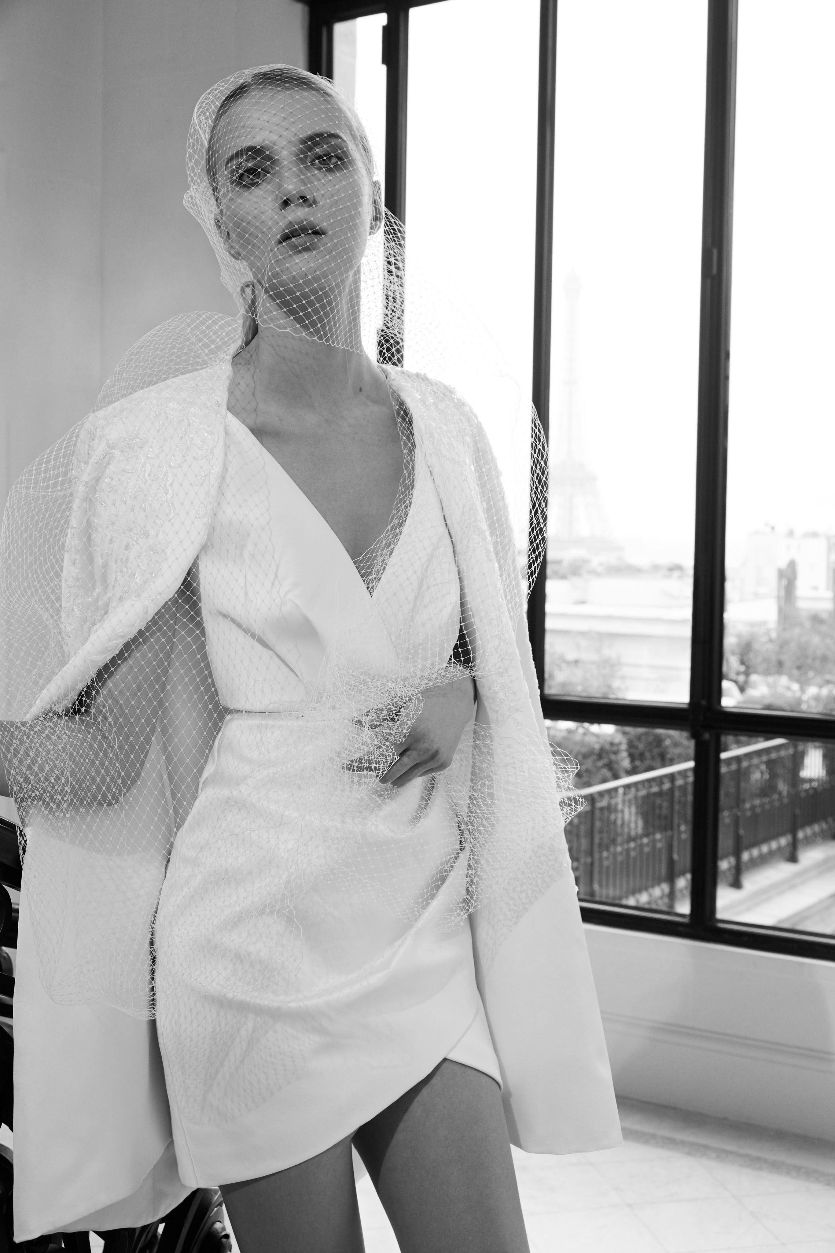 elie saab fall 2019 short high-low v-neck with jacket wedding dress